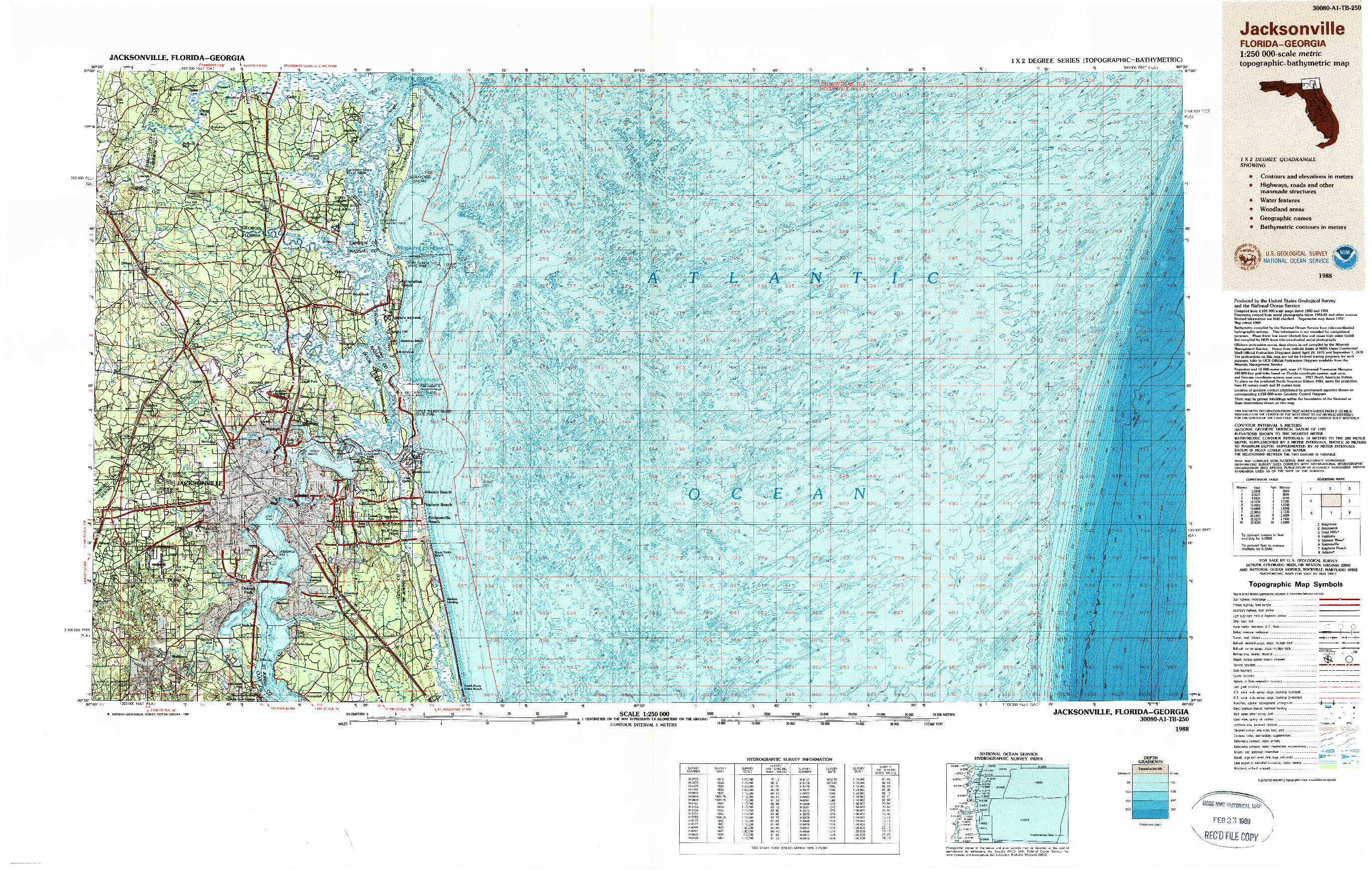 USGS 1:250000-SCALE QUADRANGLE FOR JACKSONVILLE, FL 1988