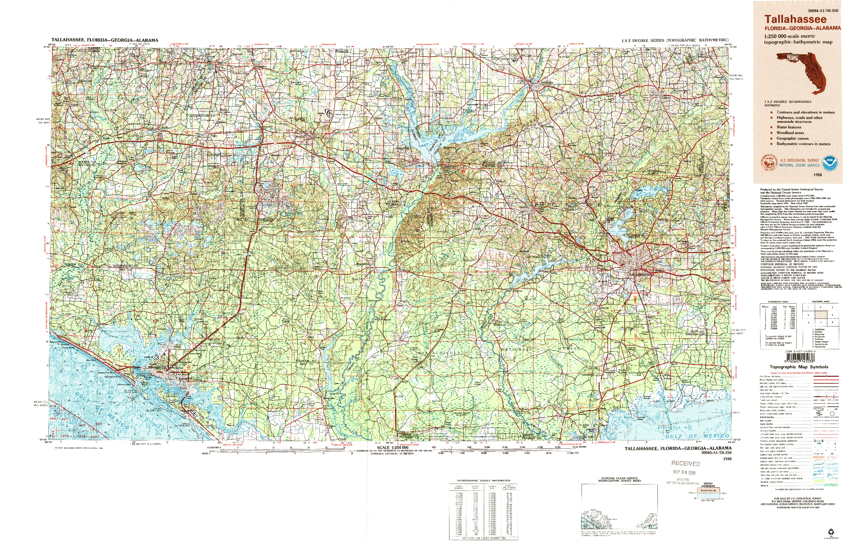 USGS 1:250000-SCALE QUADRANGLE FOR TALLAHASSEE, FL 1988