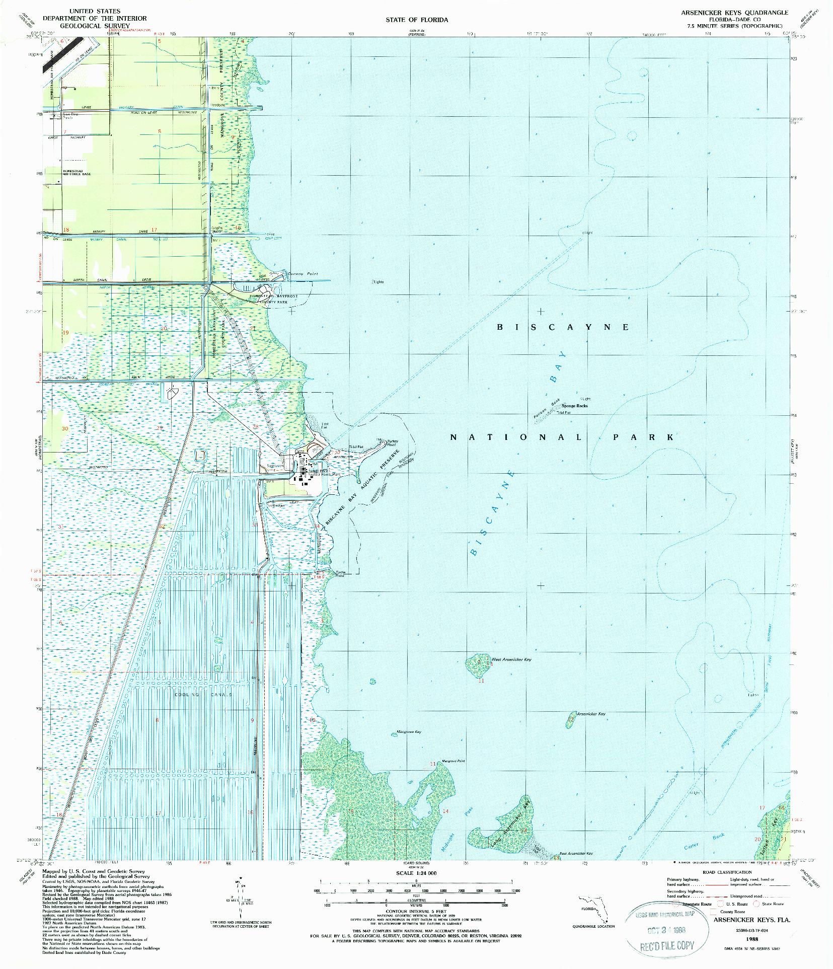 USGS 1:24000-SCALE QUADRANGLE FOR ARSENICKER KEYS, FL 1988