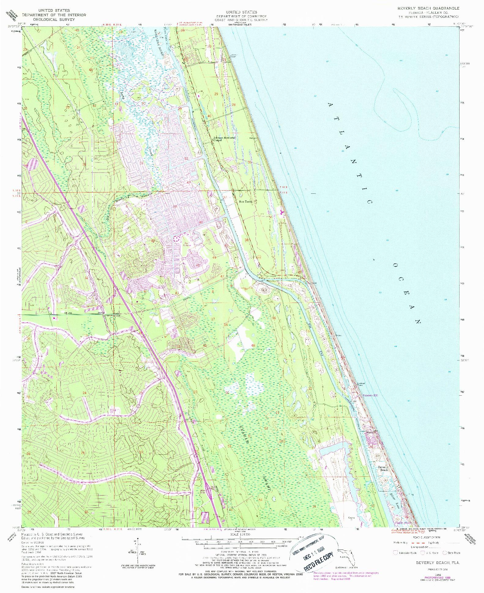 USGS 1:24000-SCALE QUADRANGLE FOR BEVERLY BEACH, FL 1956