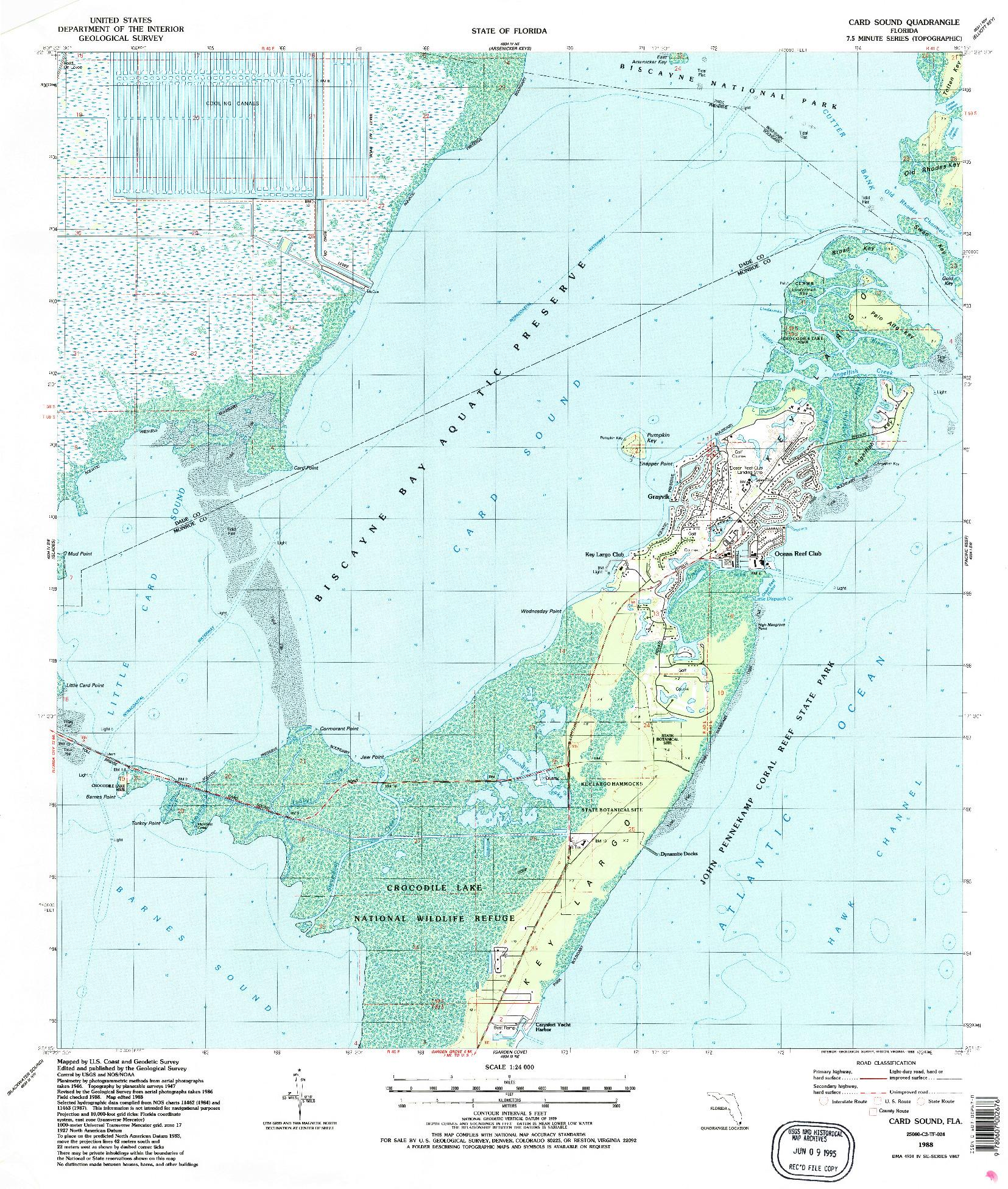 USGS 1:24000-SCALE QUADRANGLE FOR CARD SOUND, FL 1988