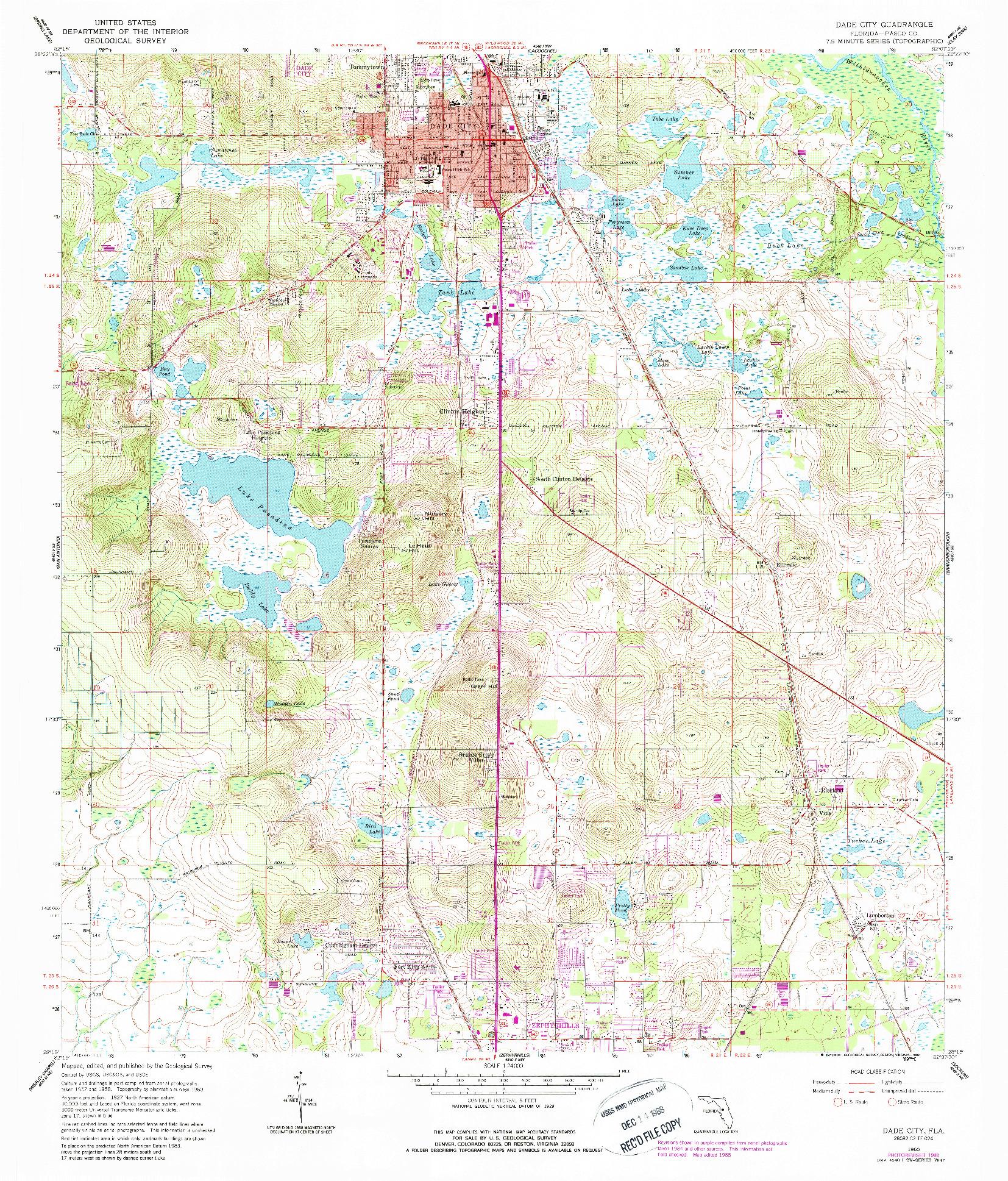 USGS 1:24000-SCALE QUADRANGLE FOR DADE CITY, FL 1960