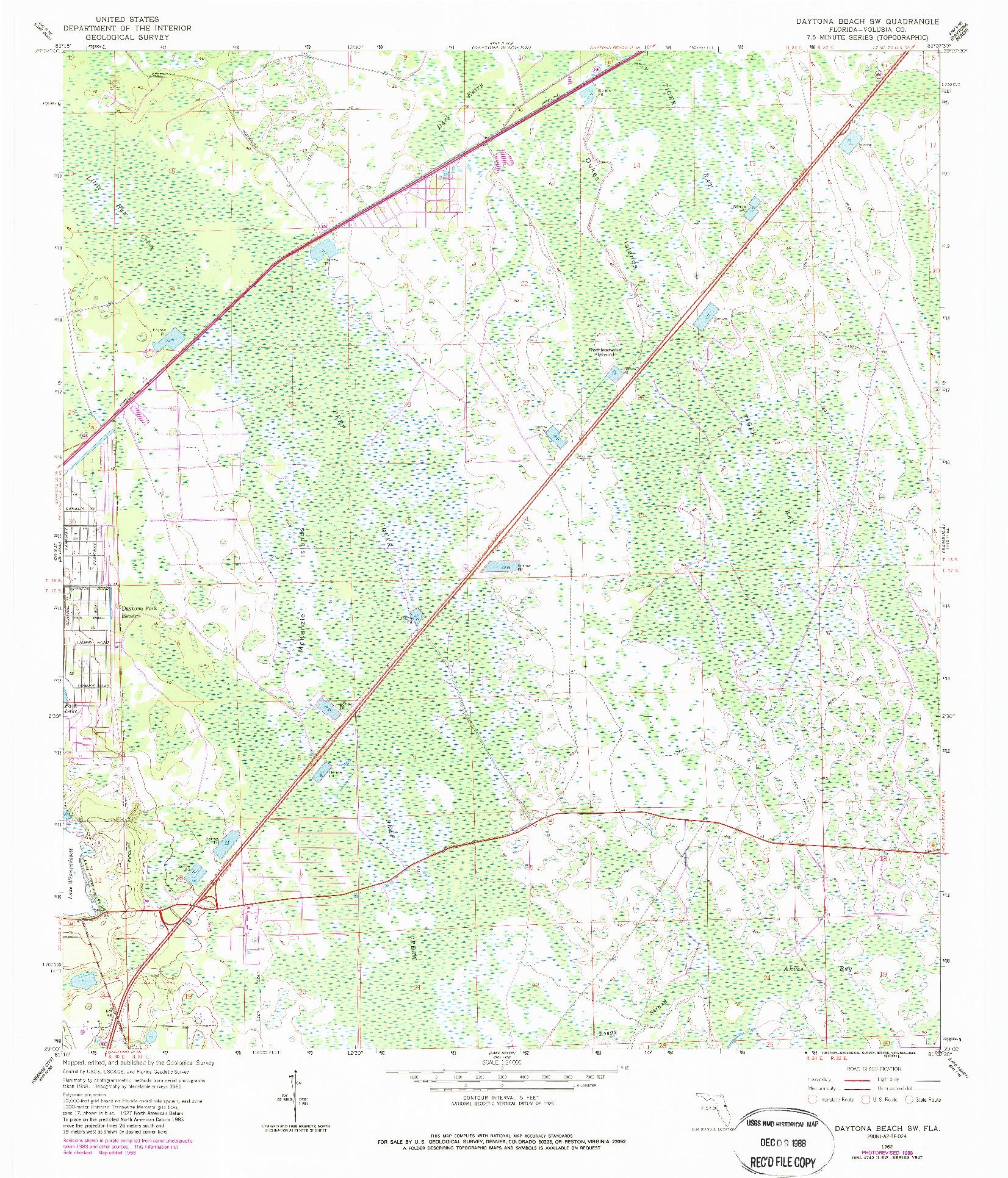 USGS 1:24000-SCALE QUADRANGLE FOR DAYTONA BEACH SW, FL 1962