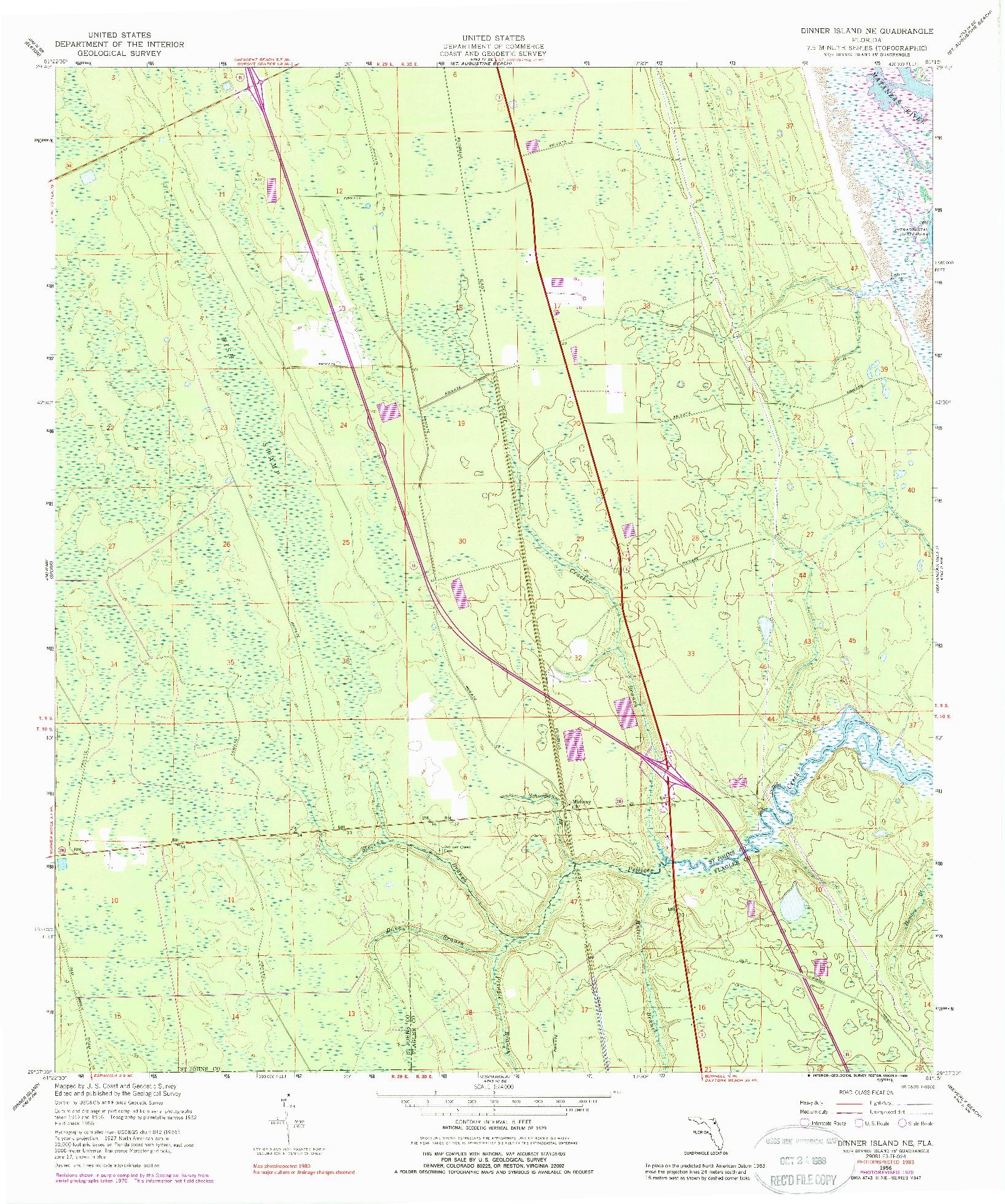 USGS 1:24000-SCALE QUADRANGLE FOR DINNER ISLAND NE, FL 1956