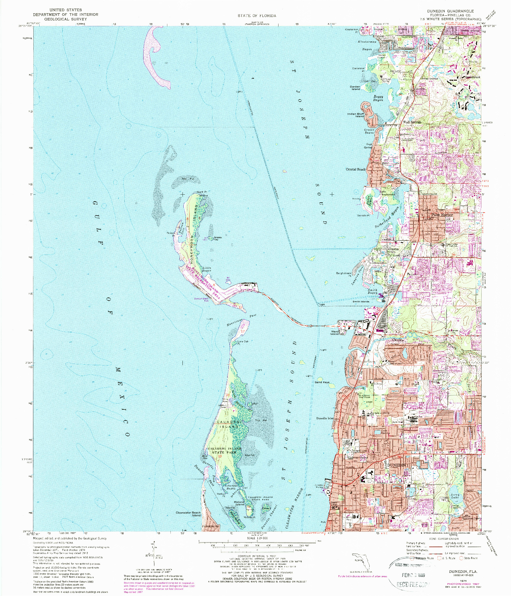 USGS 1:24000-SCALE QUADRANGLE FOR DUNEDIN, FL 1974