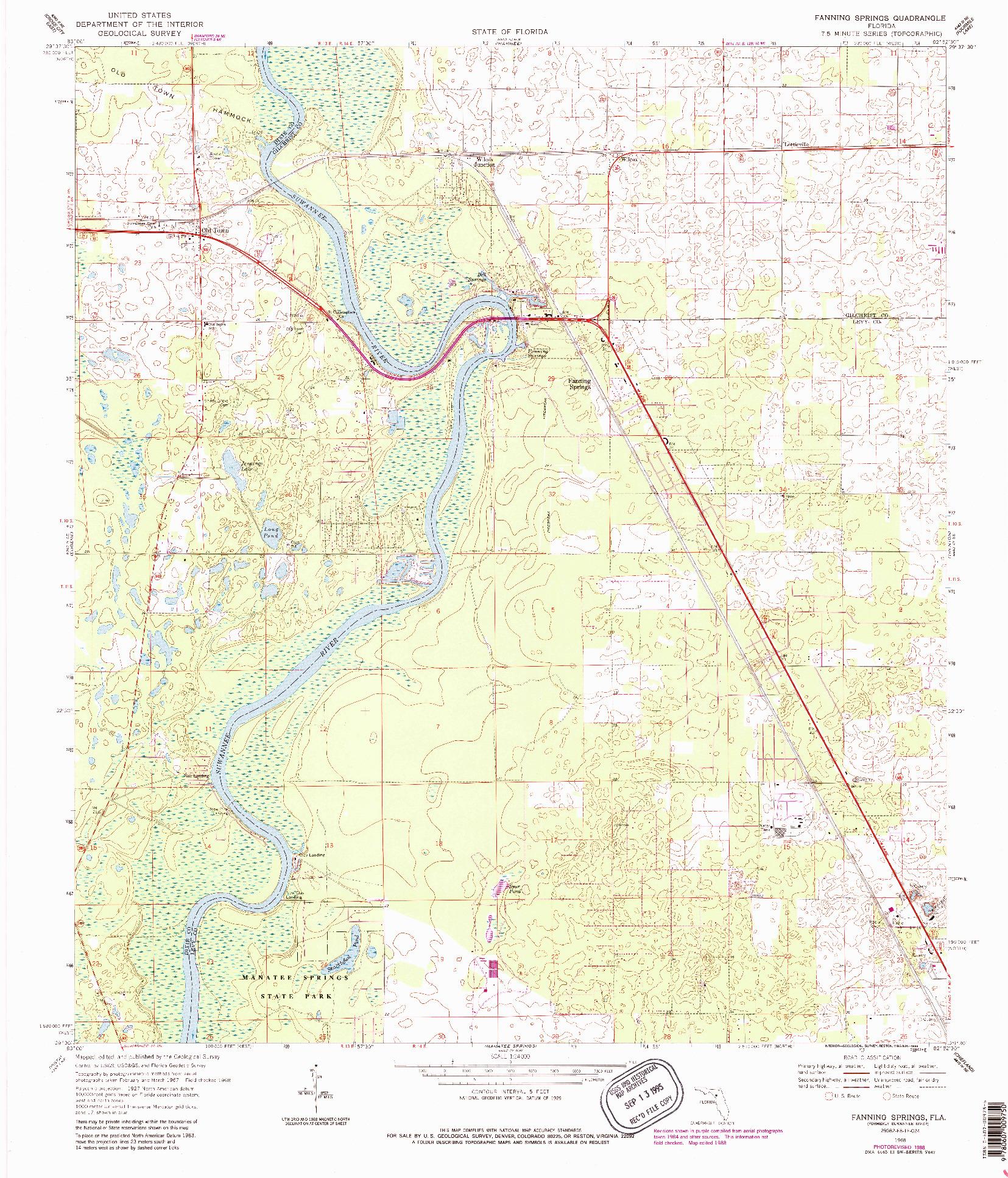 USGS 1:24000-SCALE QUADRANGLE FOR FANNING SPRINGS, FL 1968
