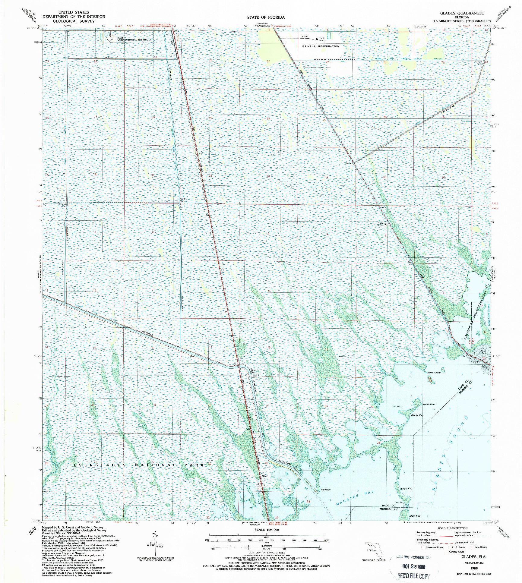 USGS 1:24000-SCALE QUADRANGLE FOR GLADES, FL 1988