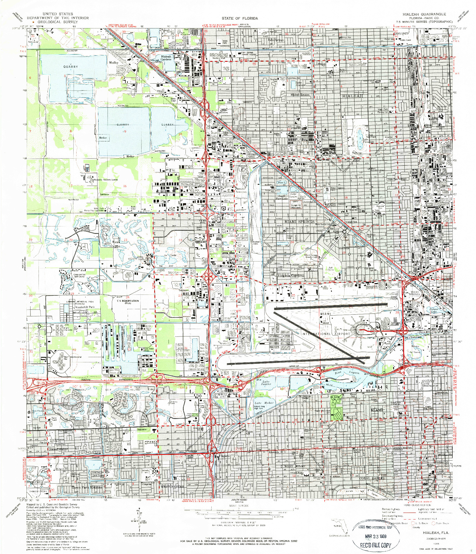 USGS 1:24000-SCALE QUADRANGLE FOR HIALEAH, FL 1988