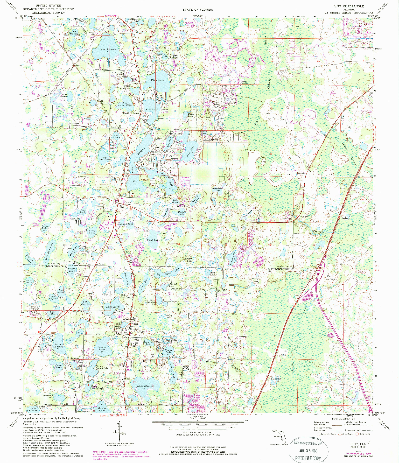 USGS 1:24000-SCALE QUADRANGLE FOR LUTZ, FL 1974