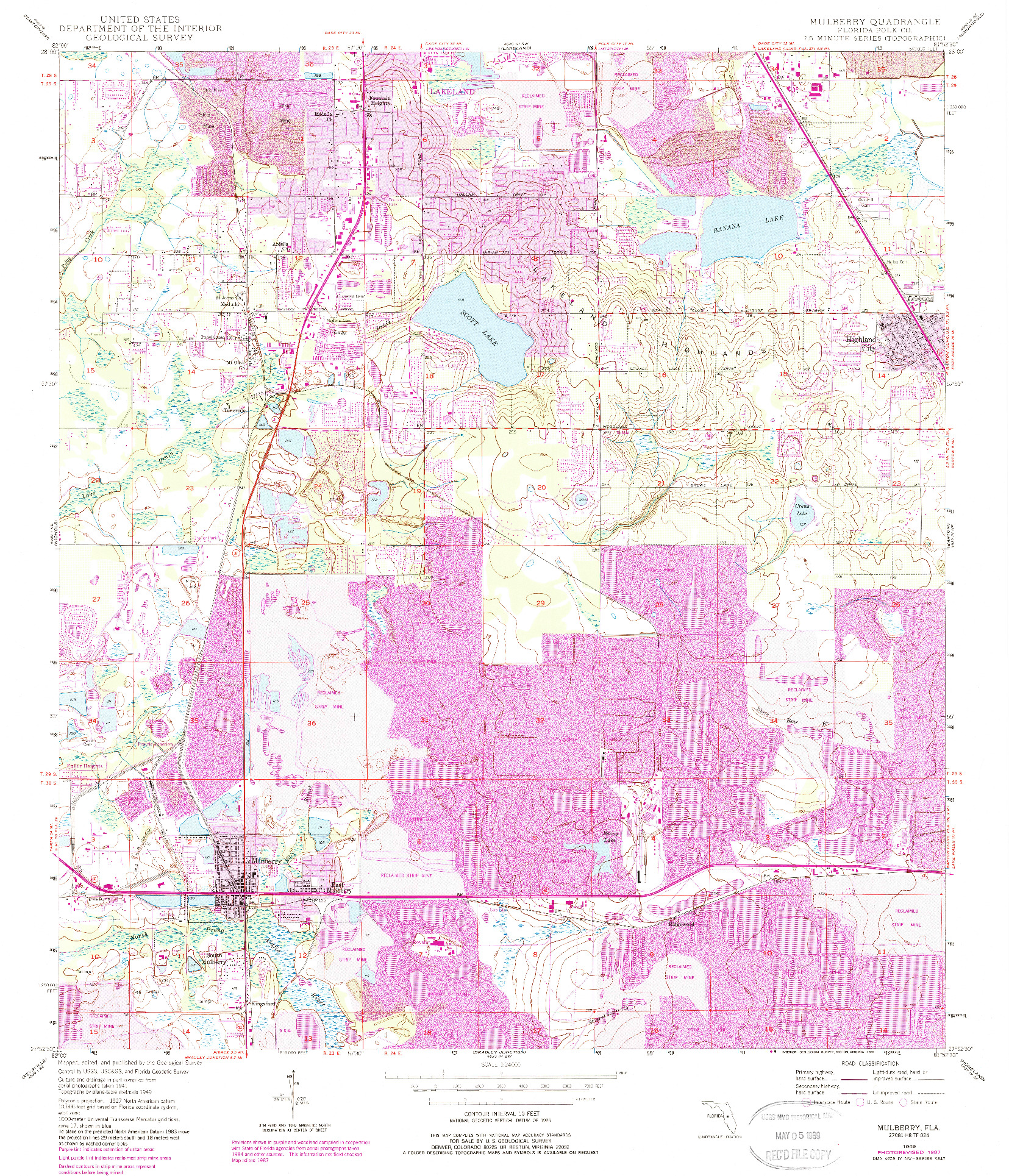 USGS 1:24000-SCALE QUADRANGLE FOR MULBERRY, FL 1949