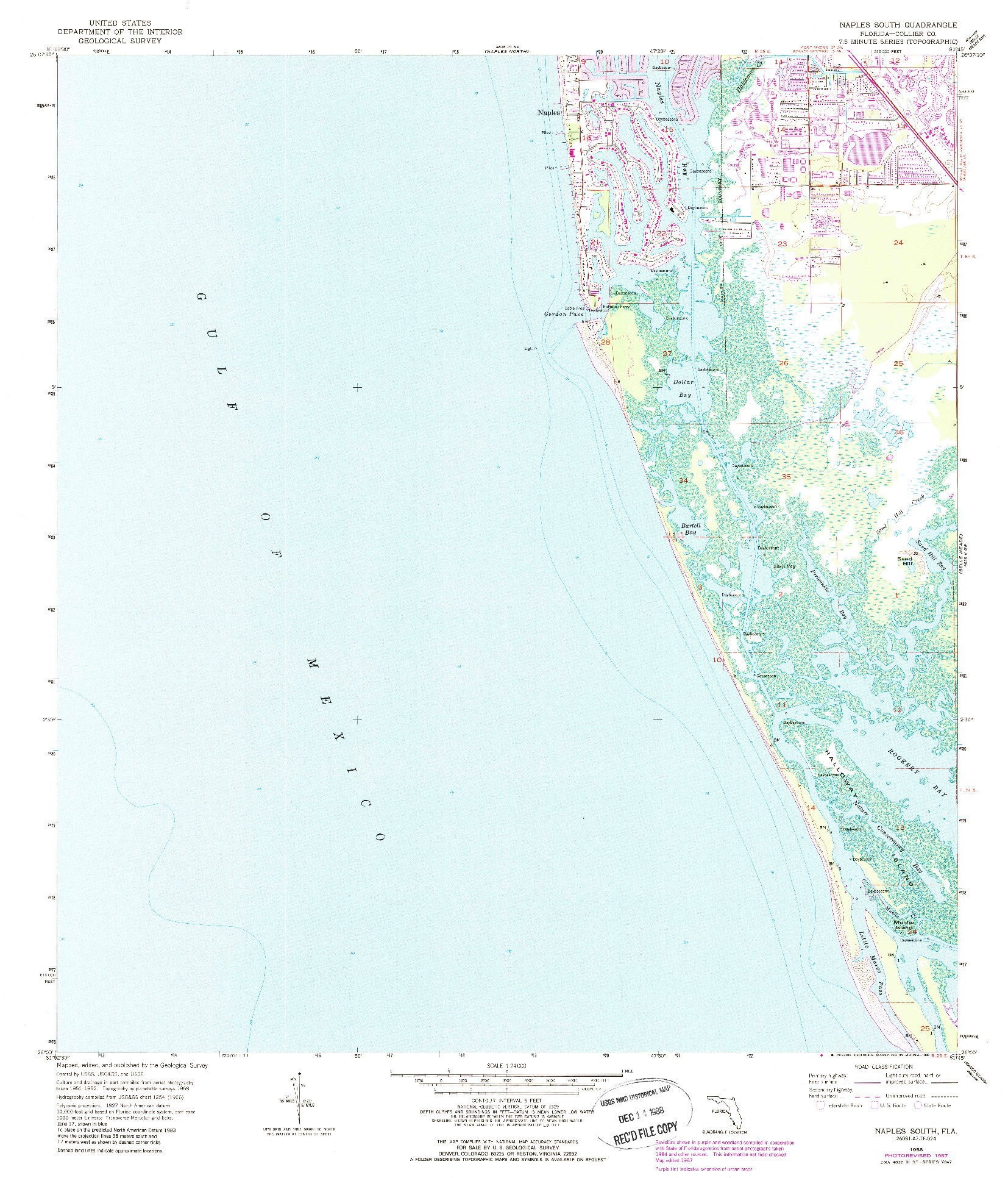 USGS 1:24000-SCALE QUADRANGLE FOR NAPLES SOUTH, FL 1958
