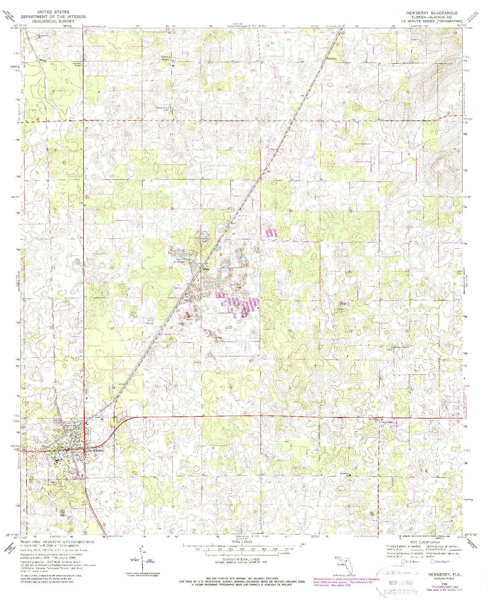USGS 1:24000-SCALE QUADRANGLE FOR NEWBERRY, FL 1968