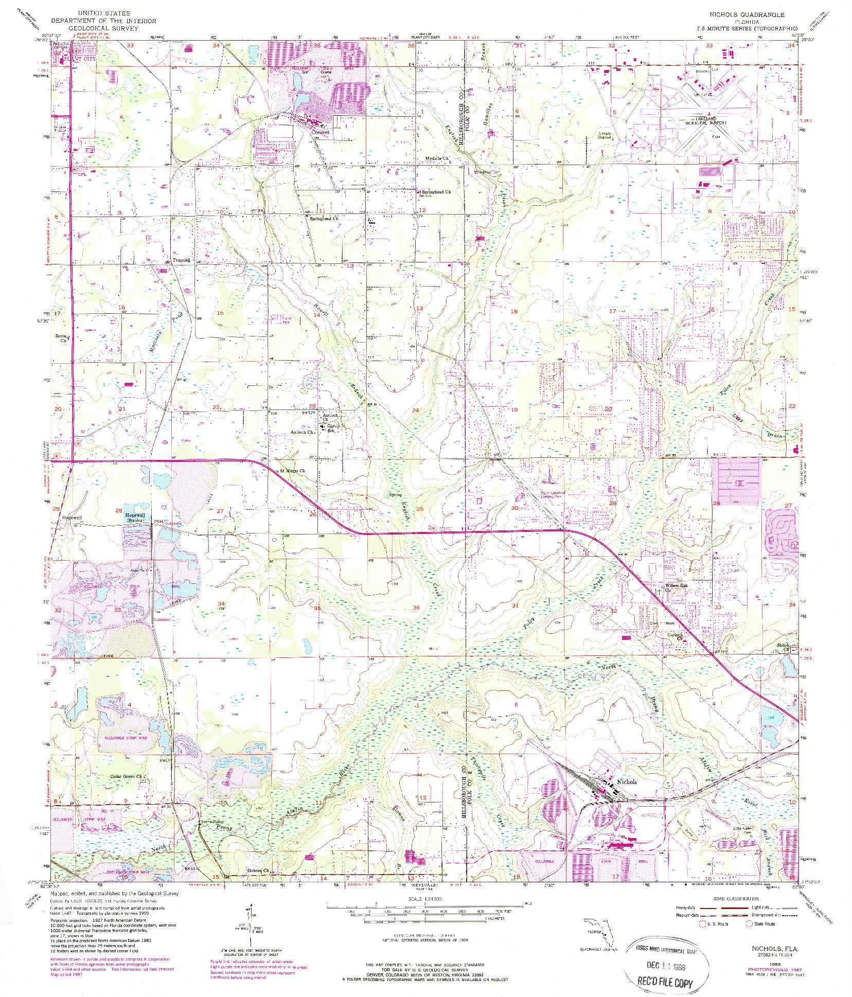 USGS 1:24000-SCALE QUADRANGLE FOR NICHOLS, FL 1955