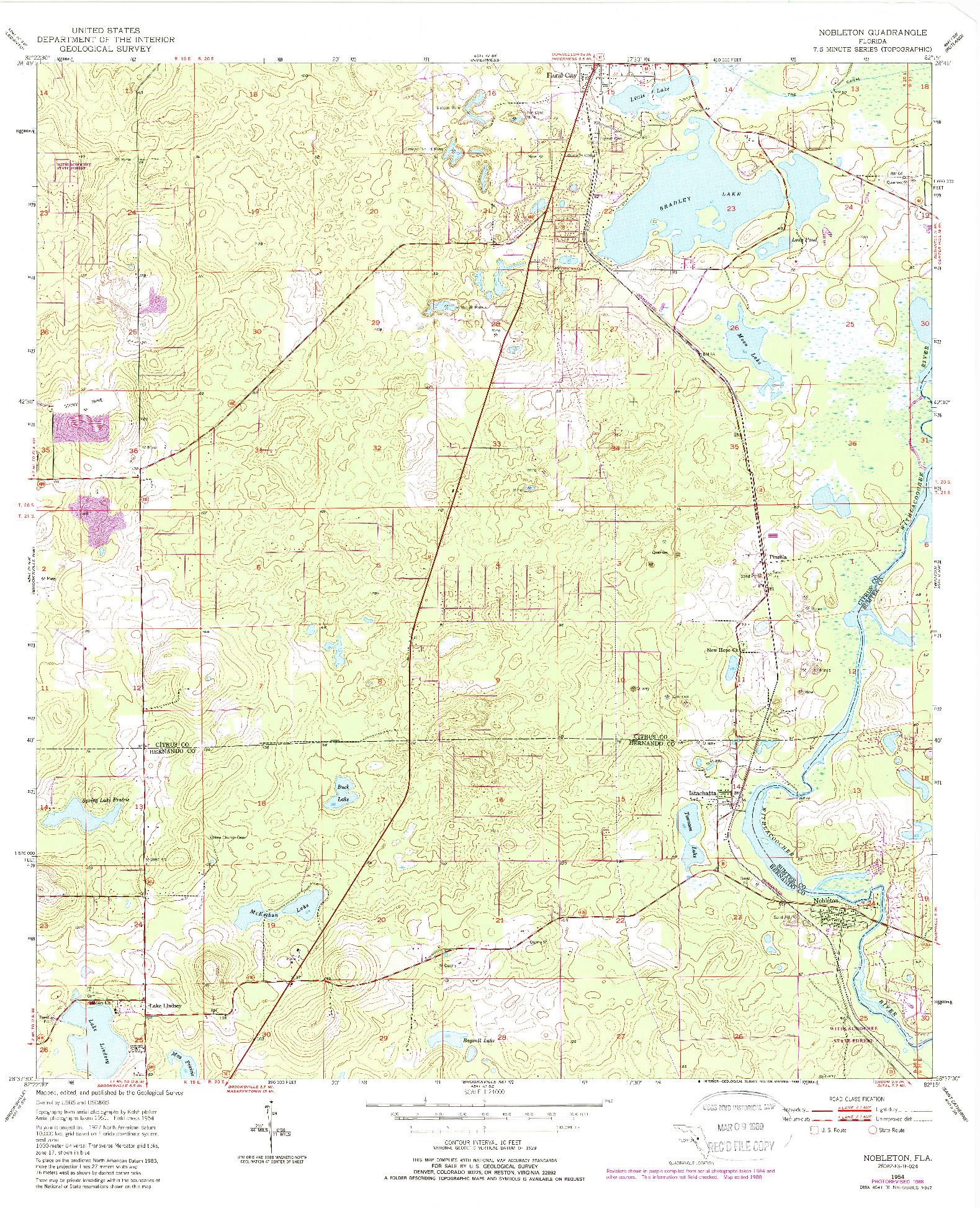 USGS 1:24000-SCALE QUADRANGLE FOR NOBLETON, FL 1954
