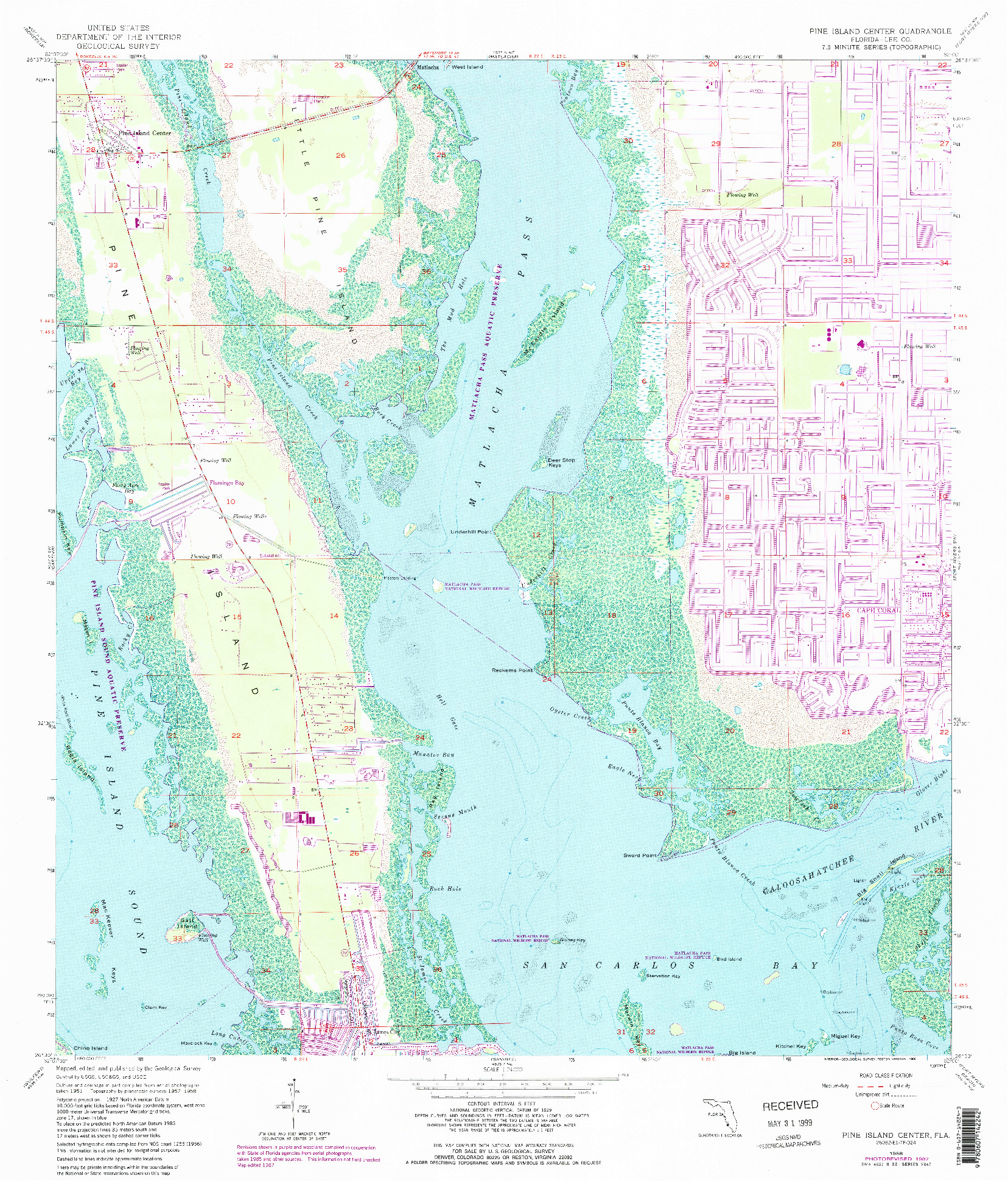 USGS 1:24000-SCALE QUADRANGLE FOR PINE ISLAND CENTER, FL 1958