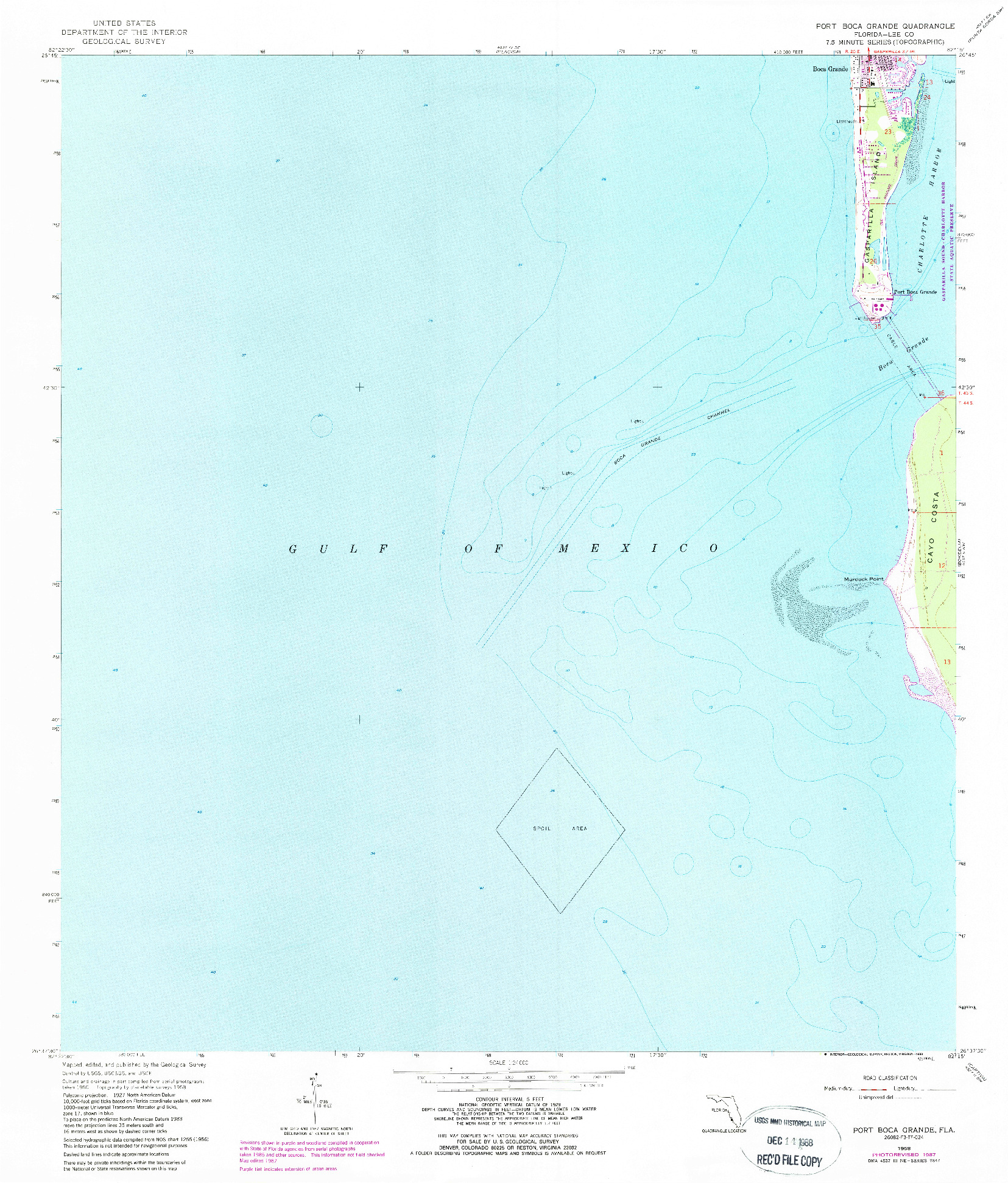 USGS 1:24000-SCALE QUADRANGLE FOR PORT BOCA GRANDE, FL 1958