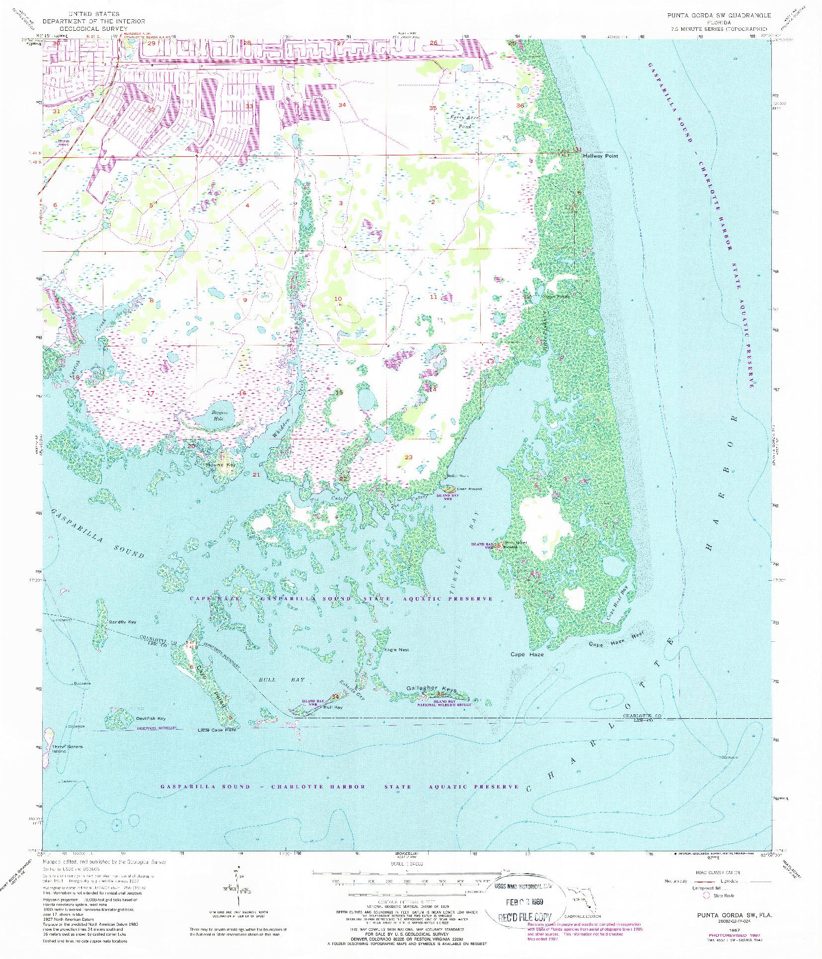 USGS 1:24000-SCALE QUADRANGLE FOR PUNTA GORDA SW, FL 1957