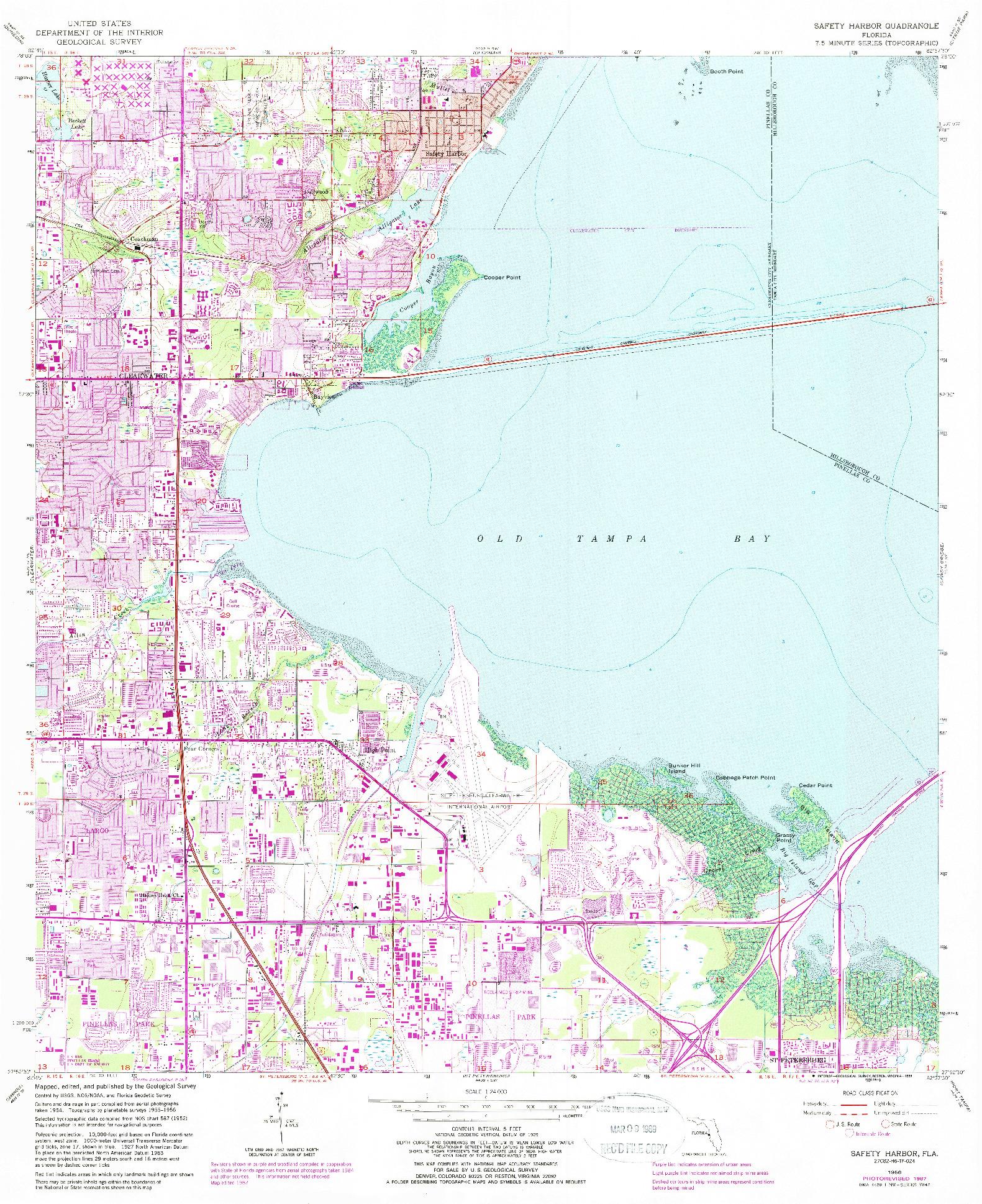 USGS 1:24000-SCALE QUADRANGLE FOR SAFETY HARBOR, FL 1956