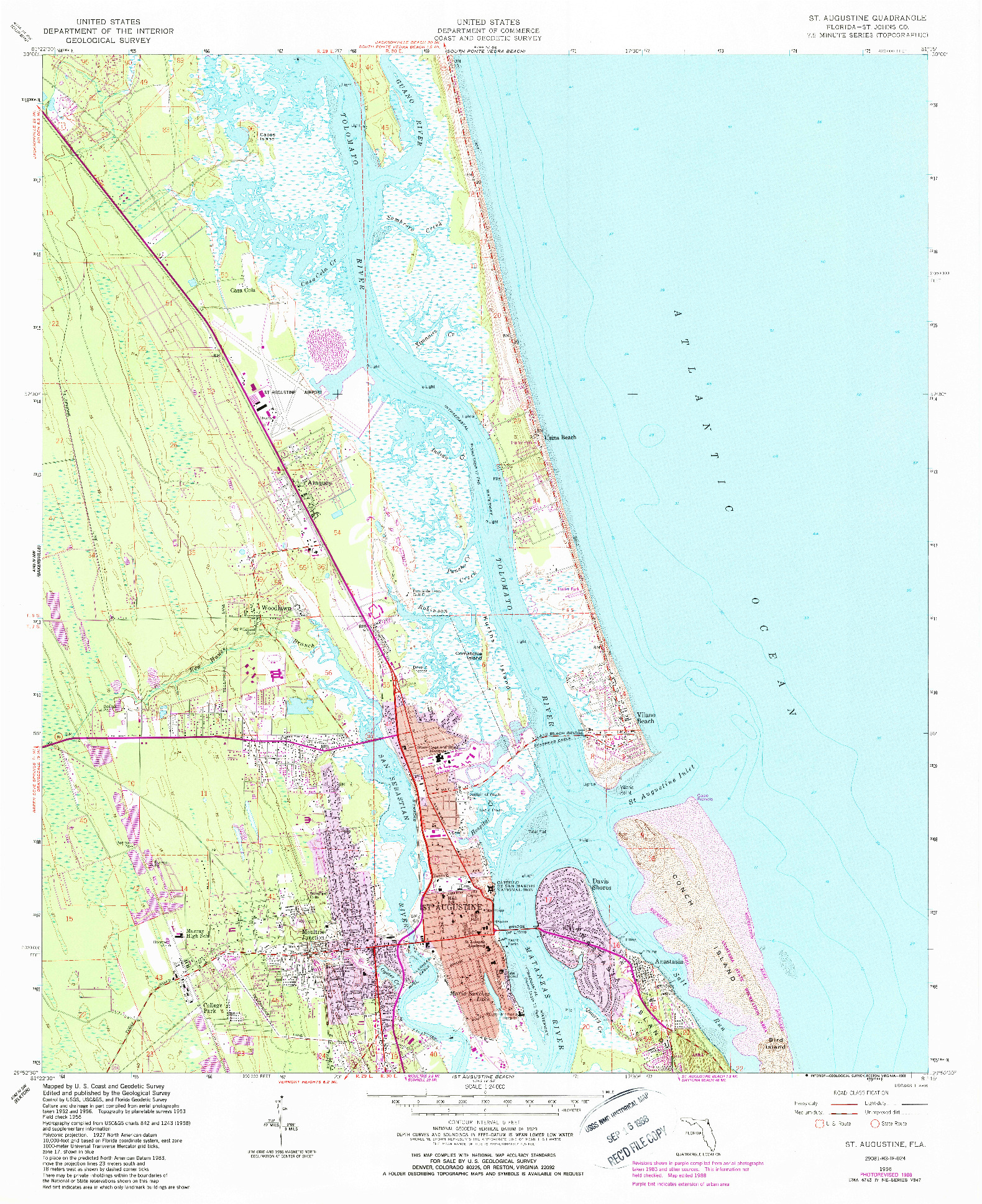 USGS 1:24000-SCALE QUADRANGLE FOR ST. AUGUSTINE, FL 1956
