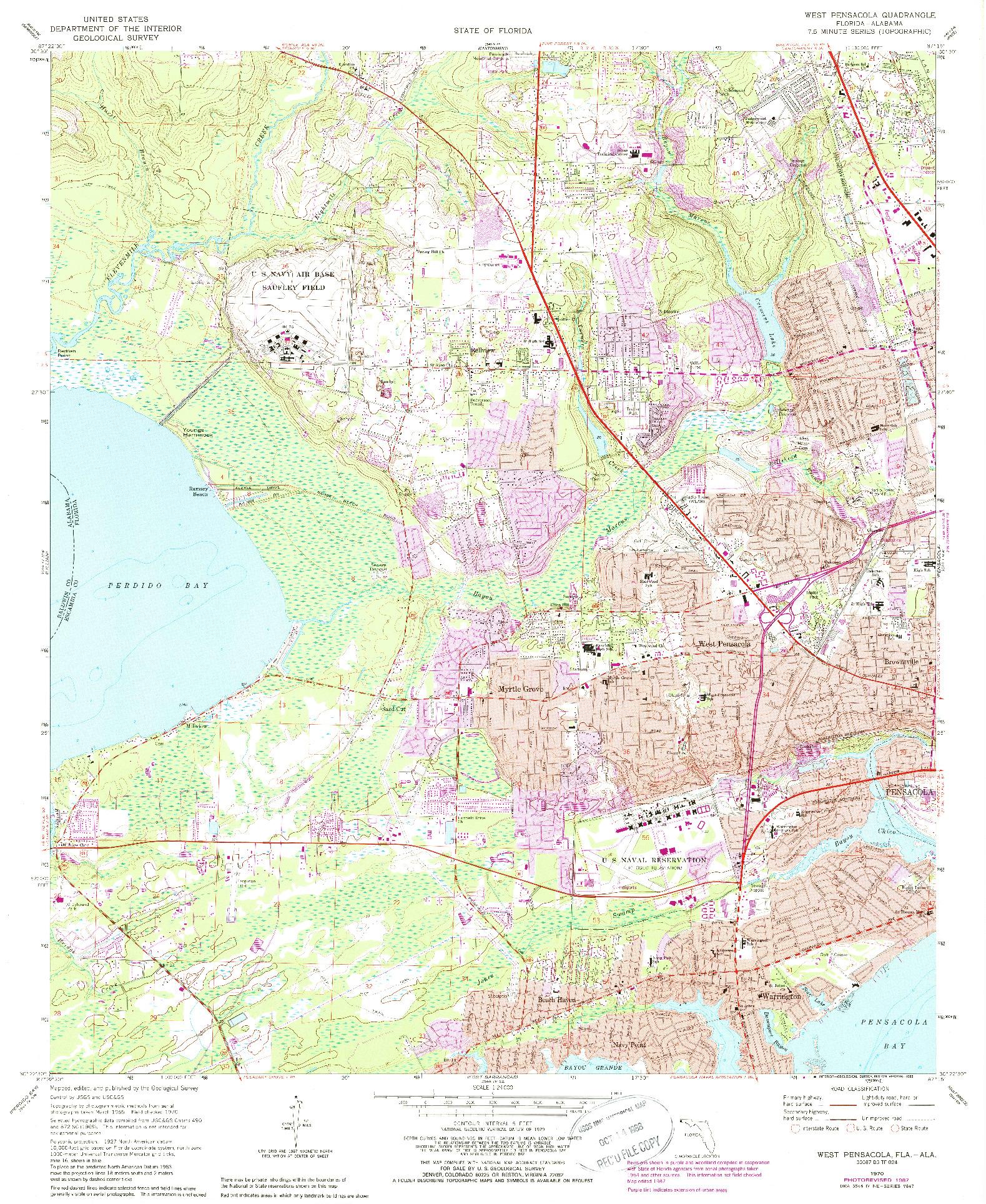 USGS 1:24000-SCALE QUADRANGLE FOR WEST PENSACOLA, FL 1970
