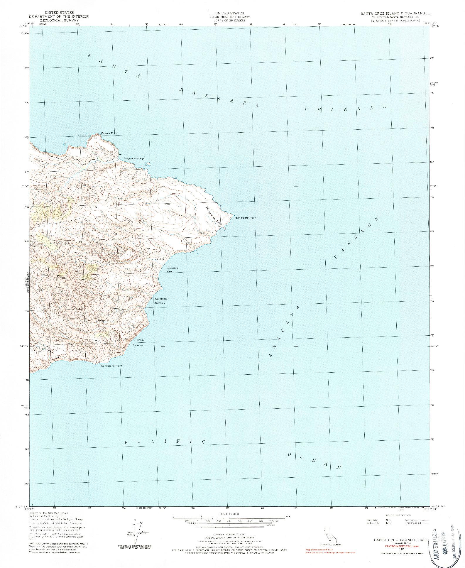 USGS 1:24000-SCALE QUADRANGLE FOR SANTA CRUZ ISLAND D, CA 1943