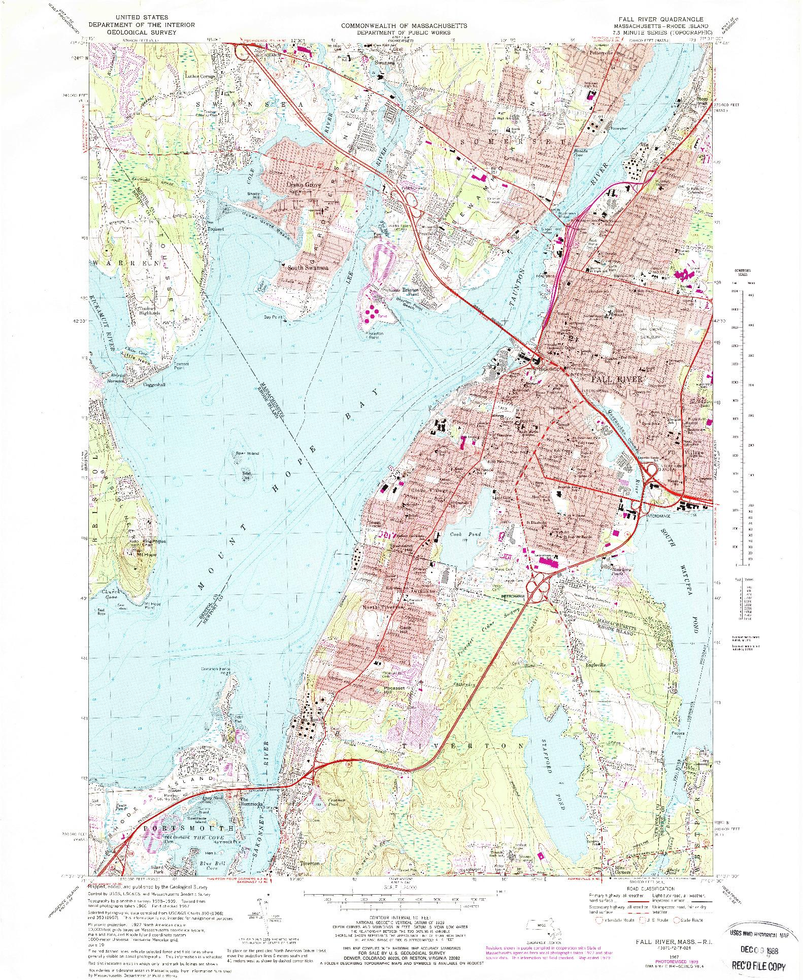 USGS 1:24000-SCALE QUADRANGLE FOR FALL RIVER, MA 1967