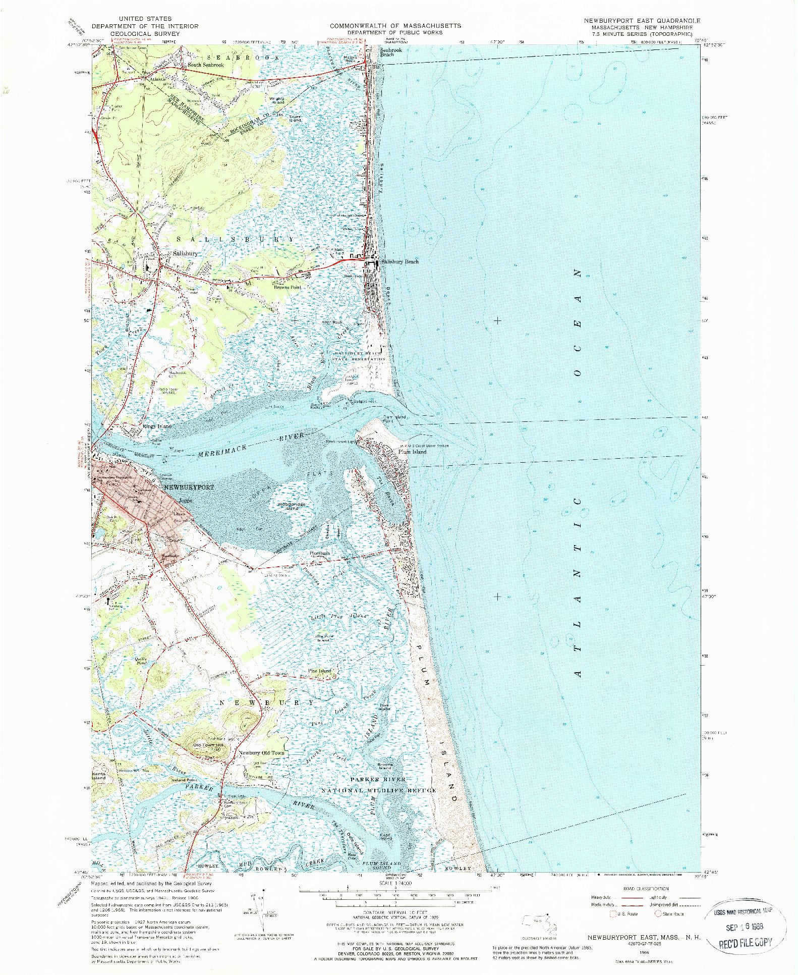 USGS 1:24000-SCALE QUADRANGLE FOR NEWBURYPORT EAST, MA 1966