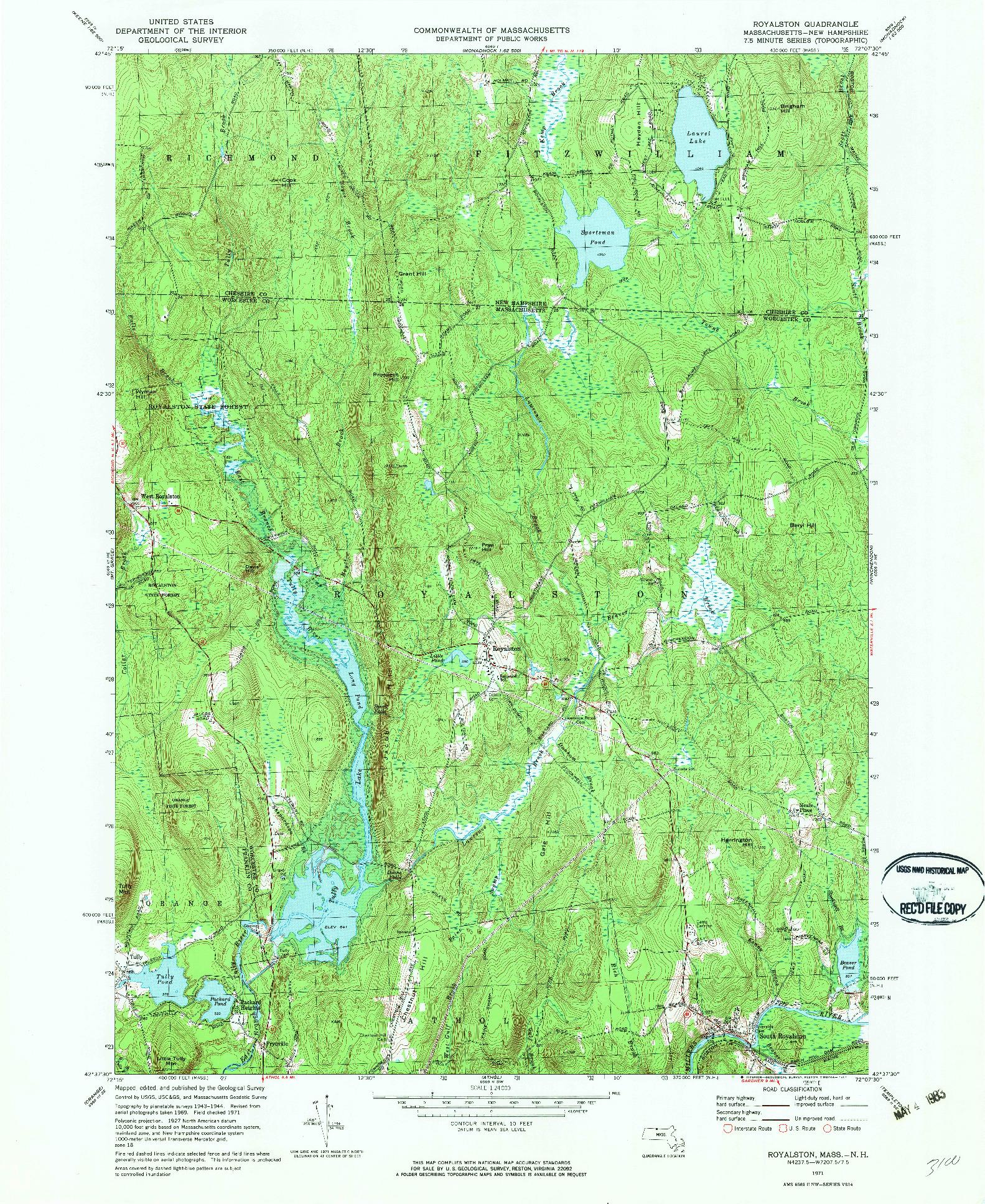 USGS 1:24000-SCALE QUADRANGLE FOR ROYALSTON, MA 1971
