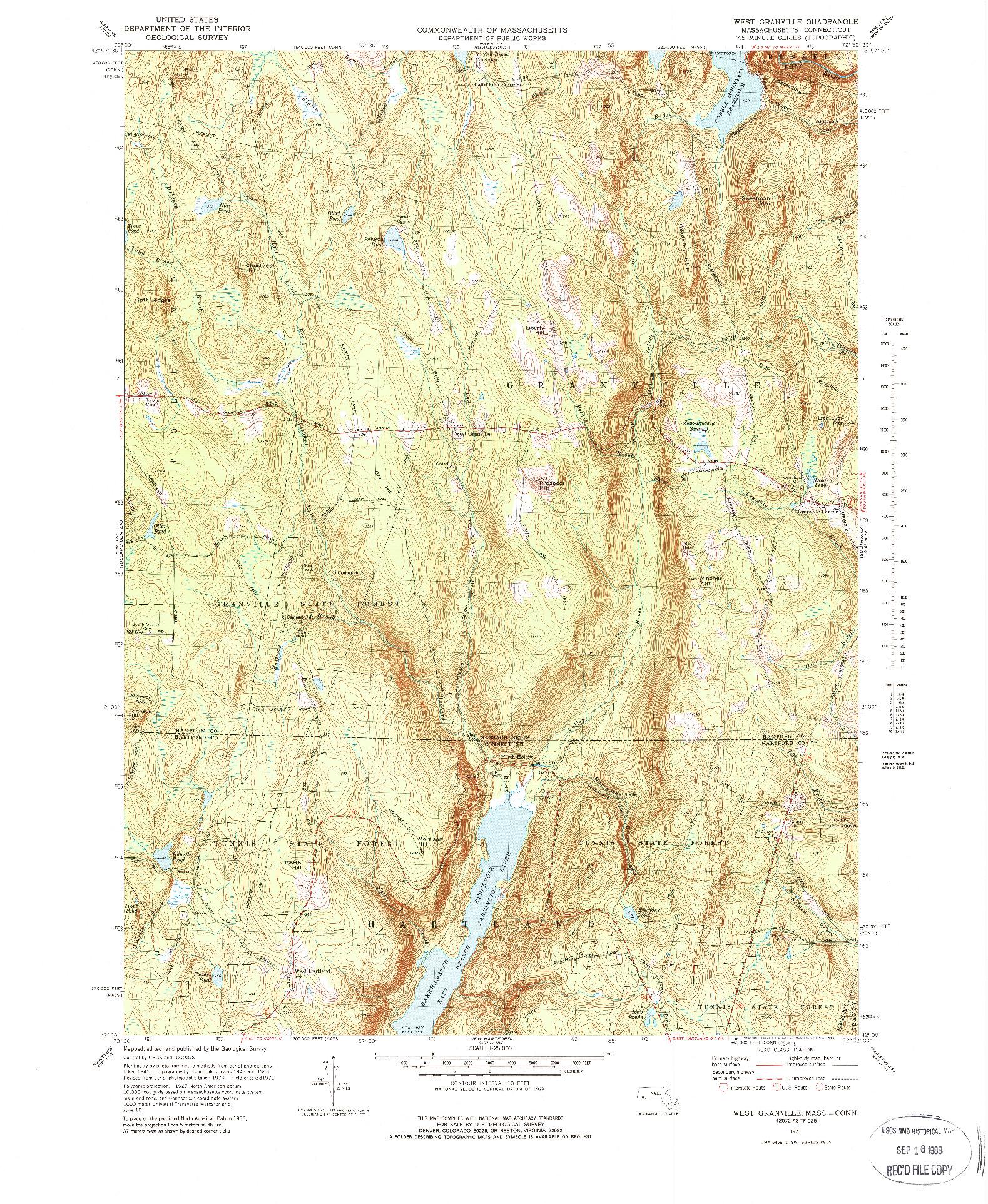 USGS 1:25000-SCALE QUADRANGLE FOR WEST GRANVILLE, MA 1971