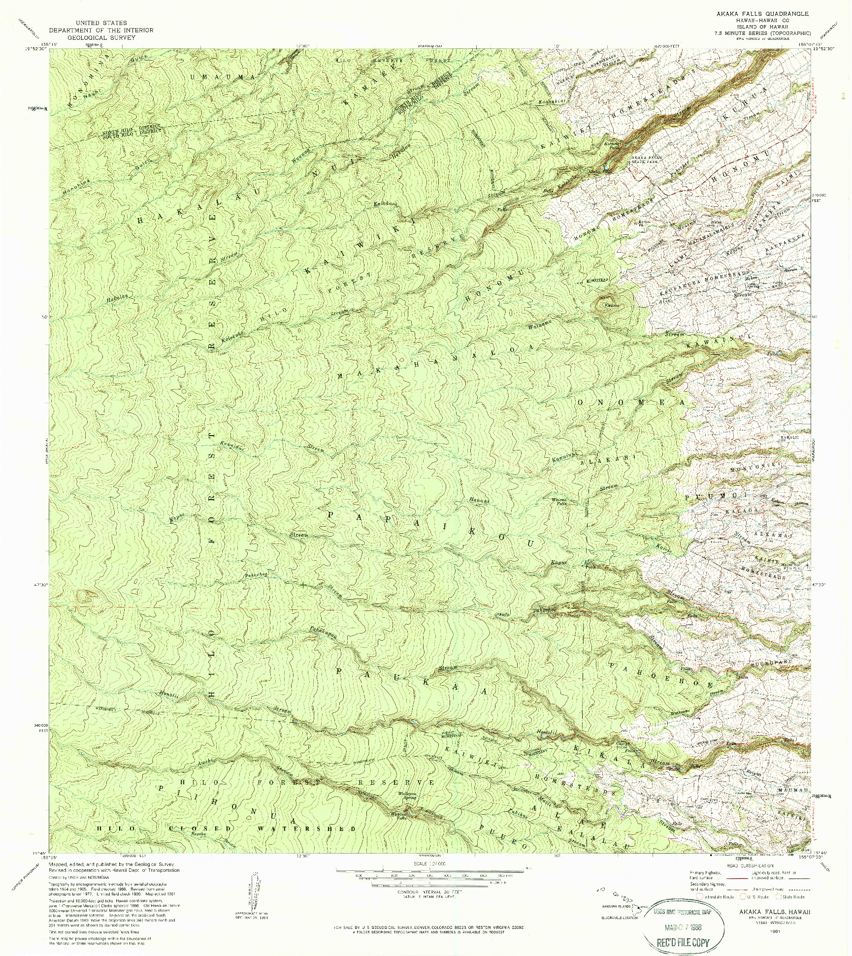 USGS 1:24000-SCALE QUADRANGLE FOR AKAKA FALLS, HI 1981
