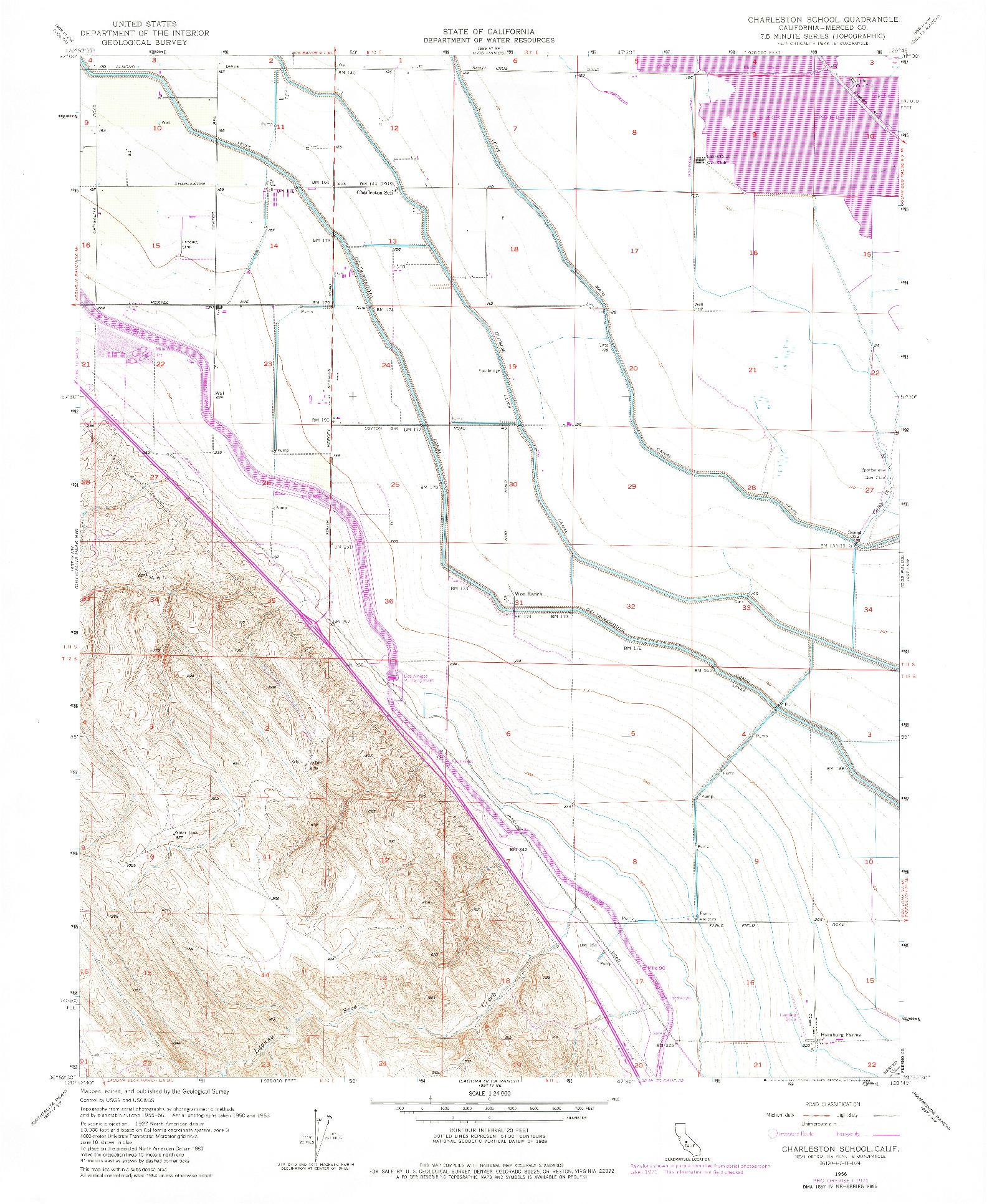 USGS 1:24000-SCALE QUADRANGLE FOR CHARLESTON SCHOOL, CA 1956