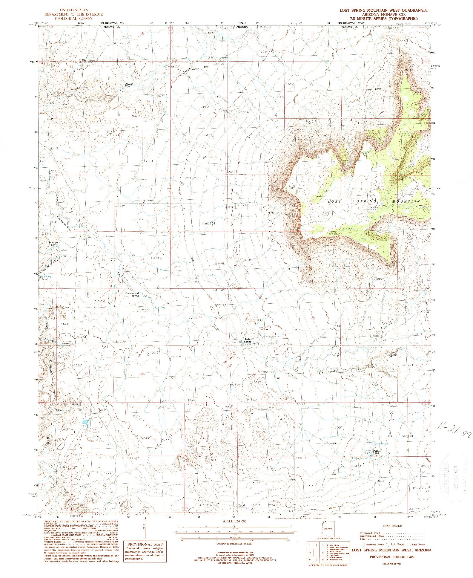 USGS 1:24000-SCALE QUADRANGLE FOR LOST SPRING MOUNTAIN WEST, AZ 1988