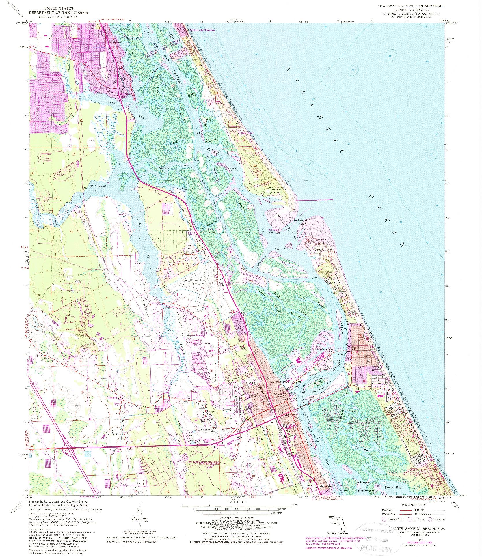 USGS 1:24000-SCALE QUADRANGLE FOR NEW SMYRNA BEACH, FL 1956
