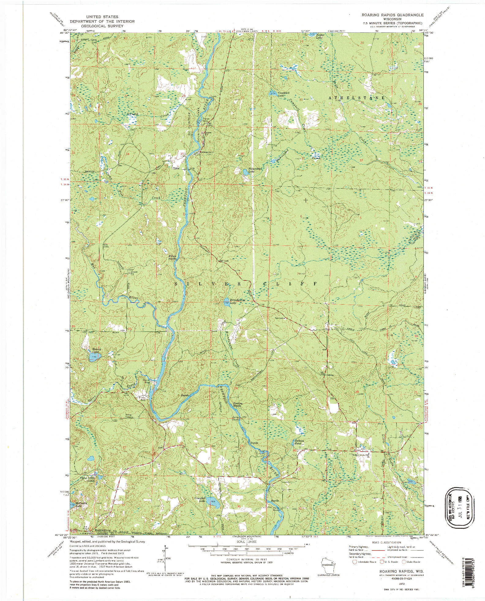 USGS 1:24000-SCALE QUADRANGLE FOR ROARING RAPIDS, WI 1972