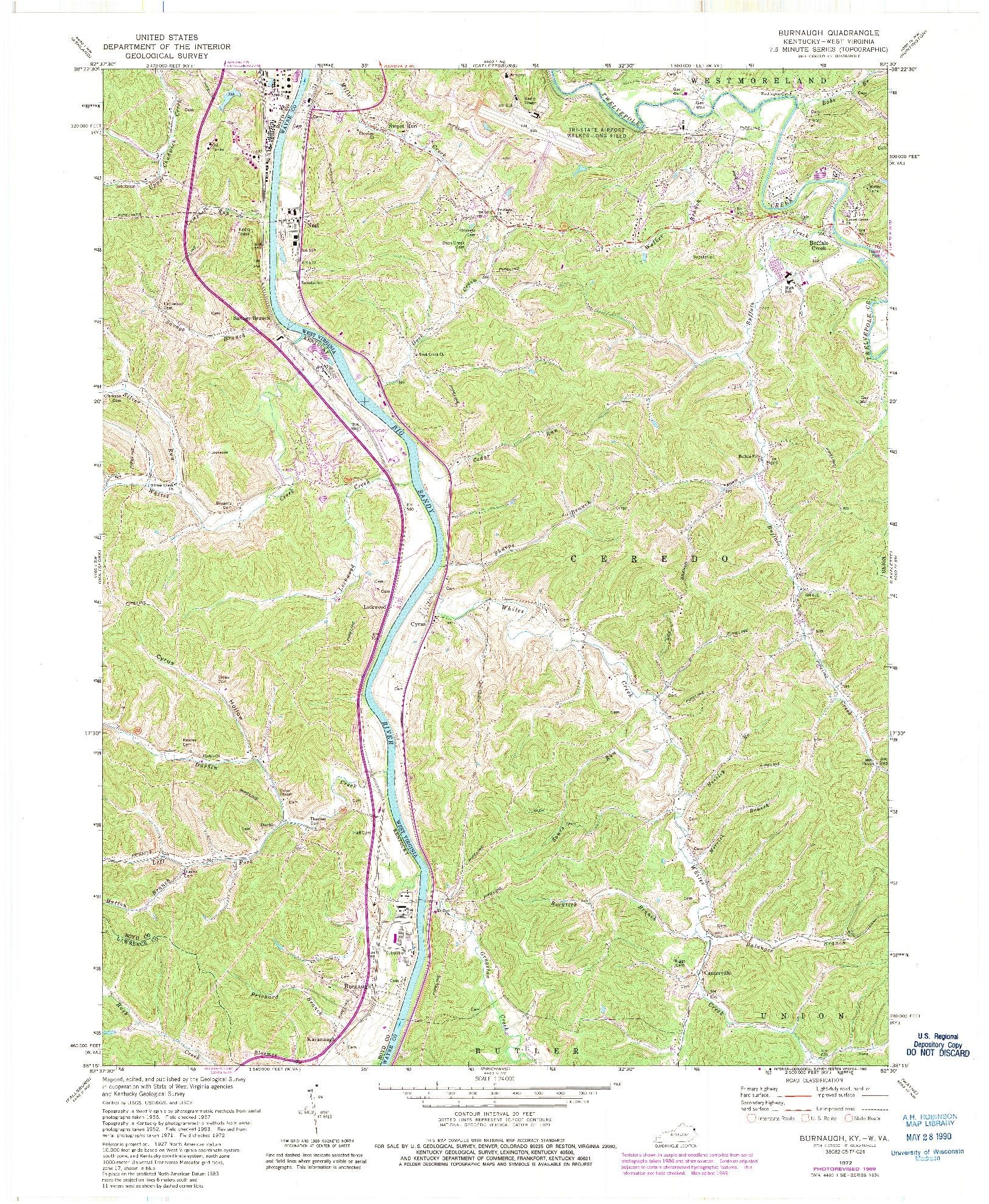 USGS 1:24000-SCALE QUADRANGLE FOR BURNAUGH, KY 1972