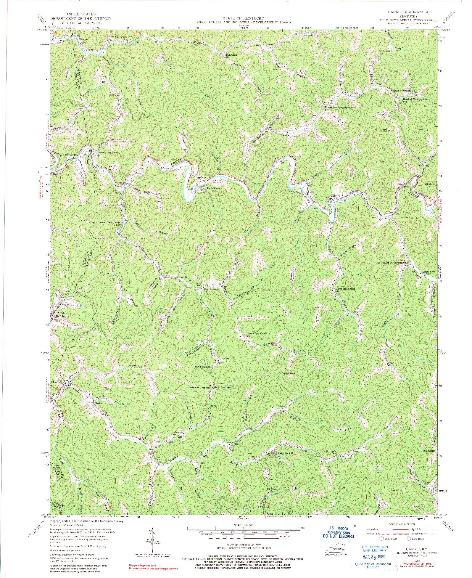 USGS 1:24000-SCALE QUADRANGLE FOR CARRIE, KY 1954