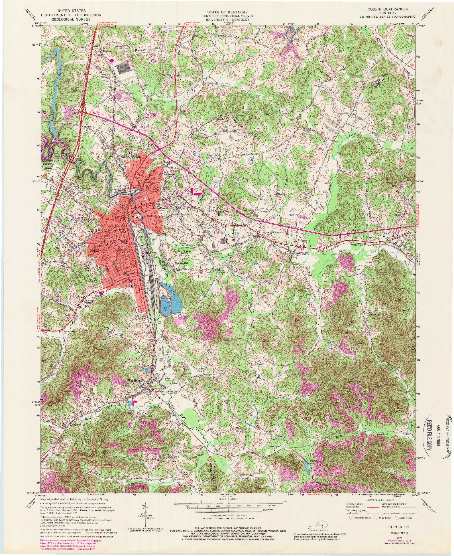USGS 1:24000-SCALE QUADRANGLE FOR CORBIN, KY 1970