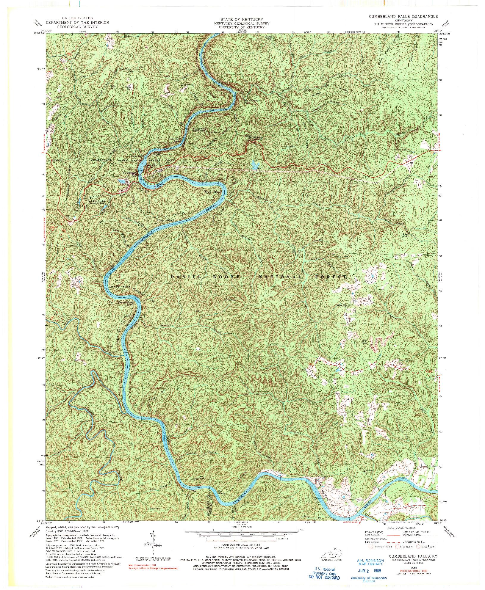 USGS 1:24000-SCALE QUADRANGLE FOR CUMBERLAND FALLS, KY 1979