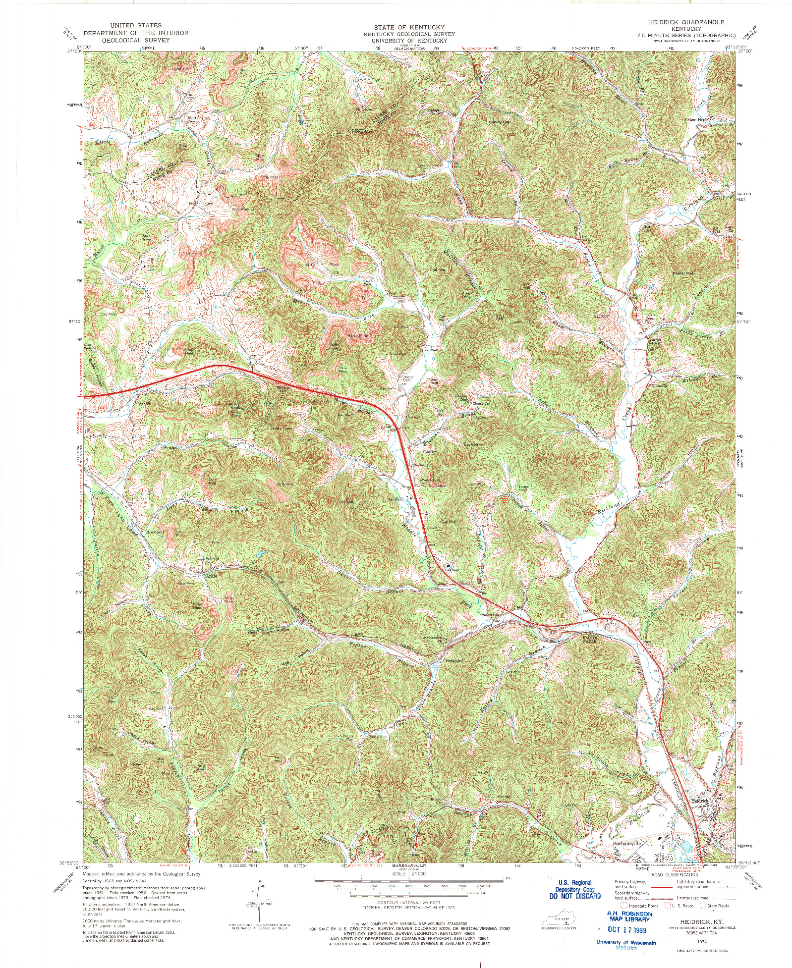 USGS 1:24000-SCALE QUADRANGLE FOR HEIDRICK, KY 1974