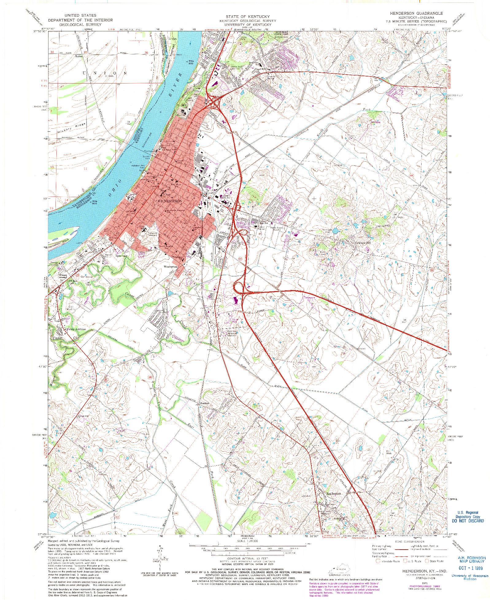 USGS 1:24000-SCALE QUADRANGLE FOR HENDERSON, KY 1971