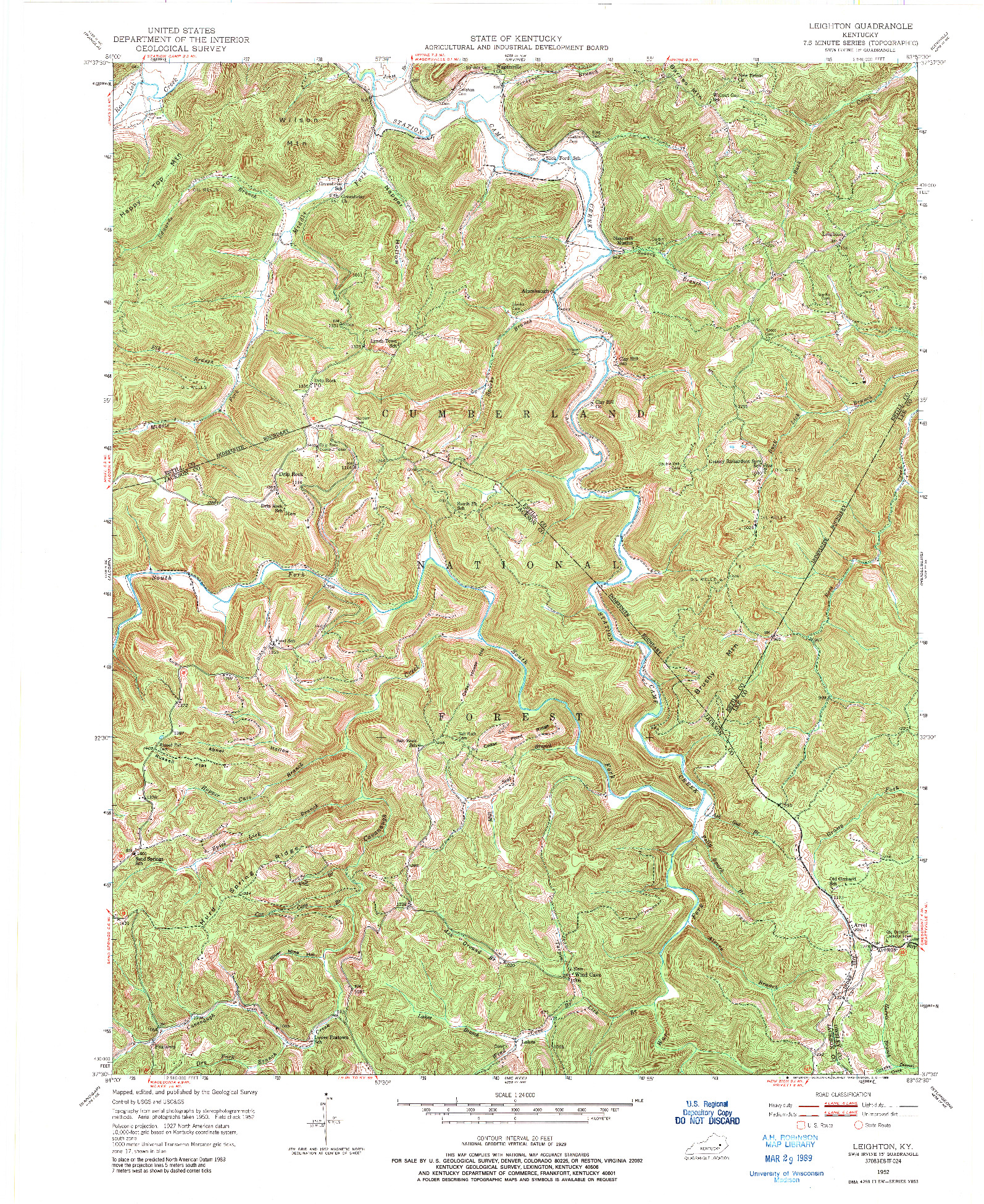 USGS 1:24000-SCALE QUADRANGLE FOR LEIGHTON, KY 1952