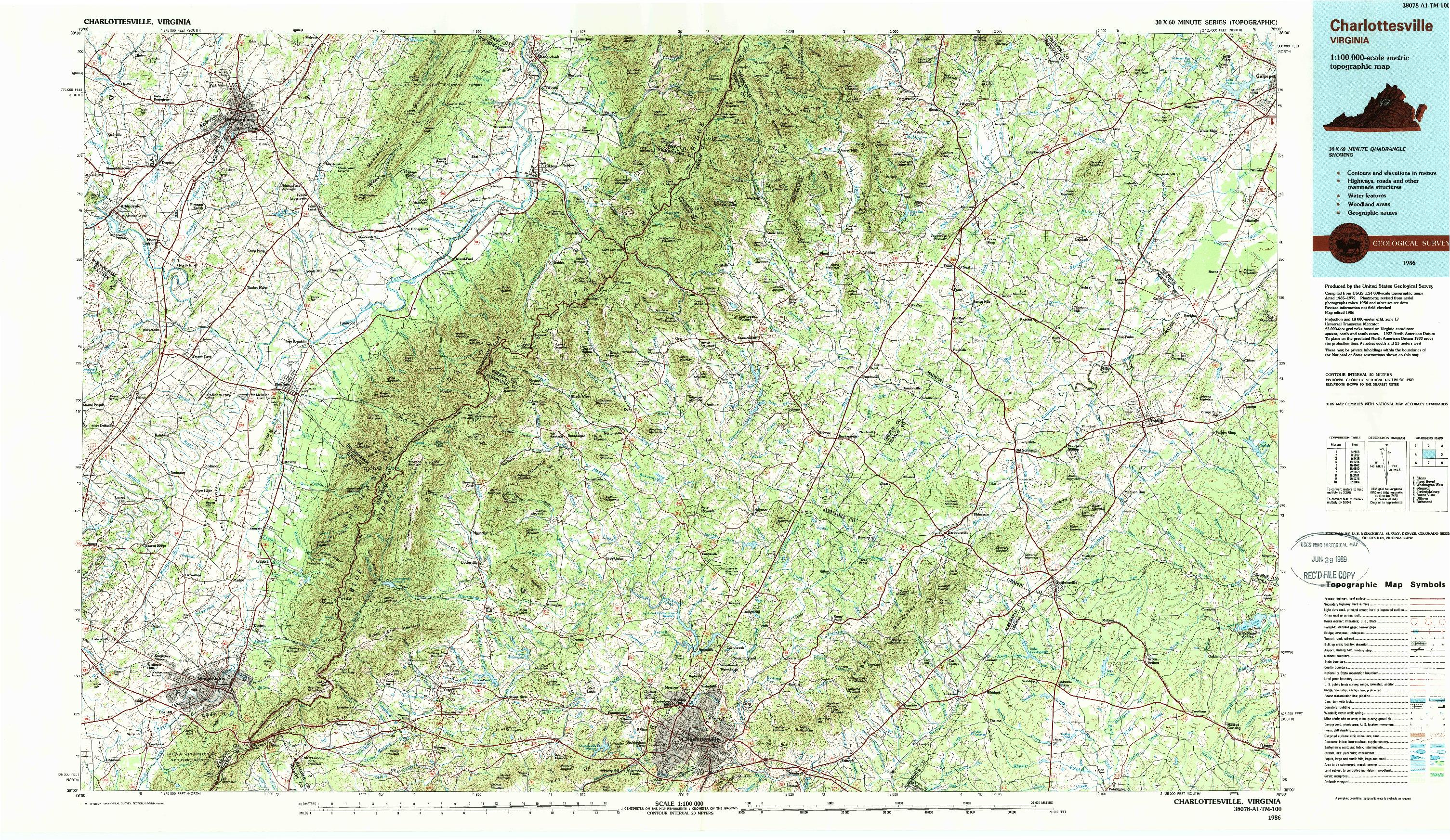 USGS 1:100000-SCALE QUADRANGLE FOR CHARLOTTESVILLE, VA 1986