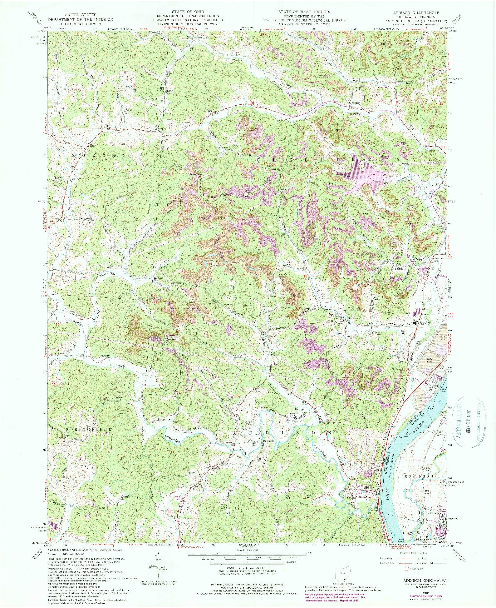 USGS 1:24000-SCALE QUADRANGLE FOR ADDISON, OH 1960