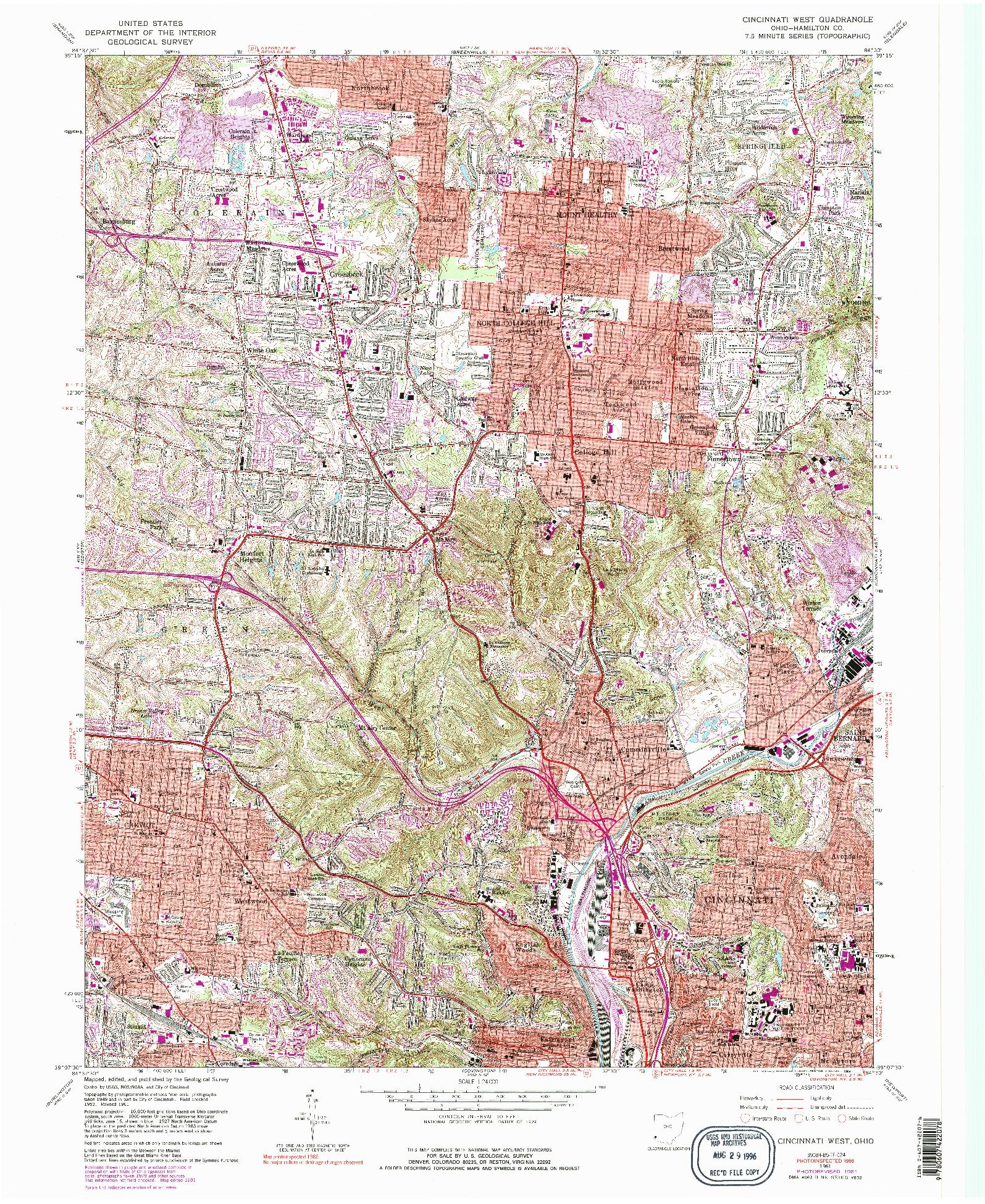 USGS 1:24000-SCALE QUADRANGLE FOR CINCINNATI WEST, OH 1961