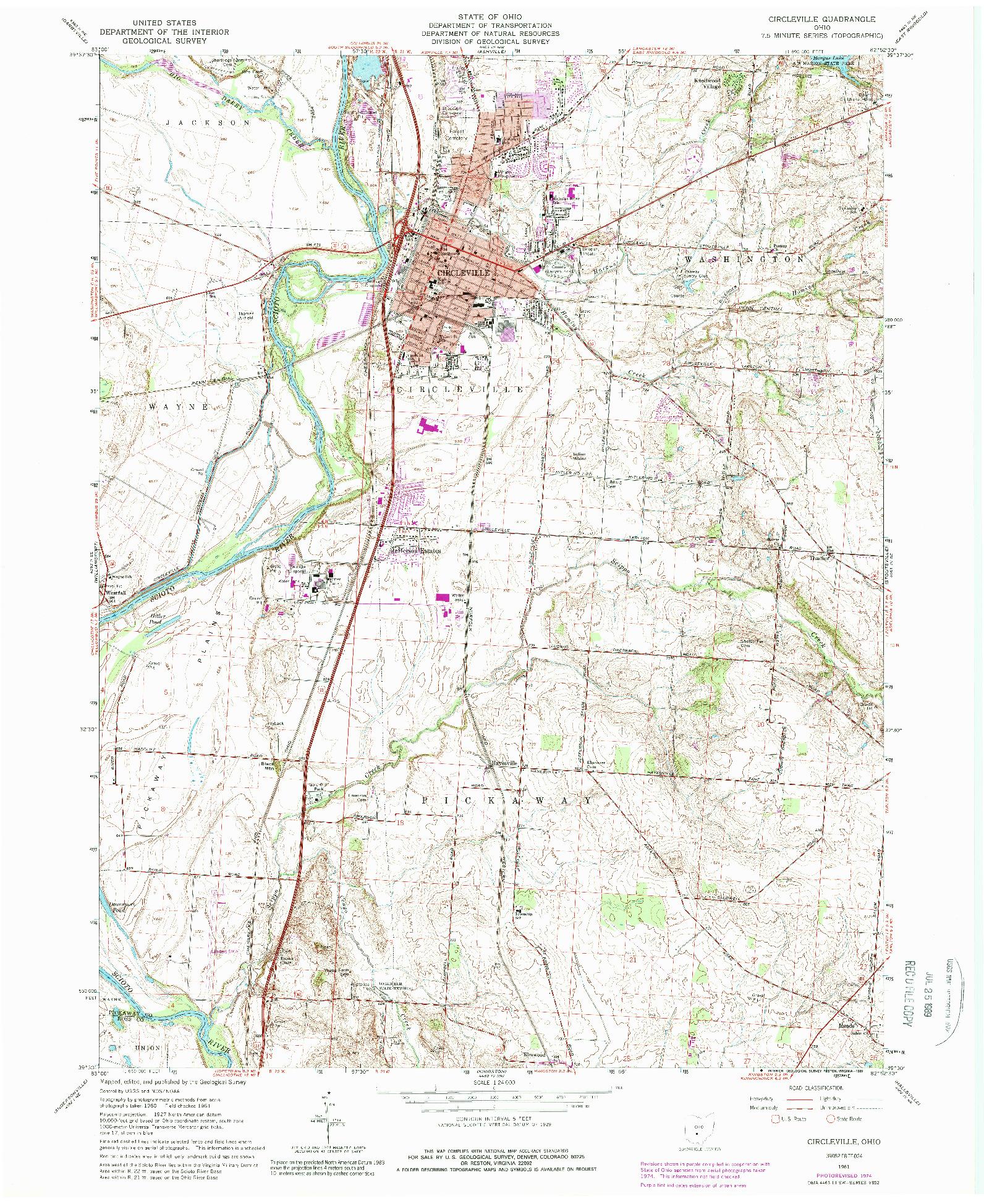 USGS 1:24000-SCALE QUADRANGLE FOR CIRCLEVILLE, OH 1961