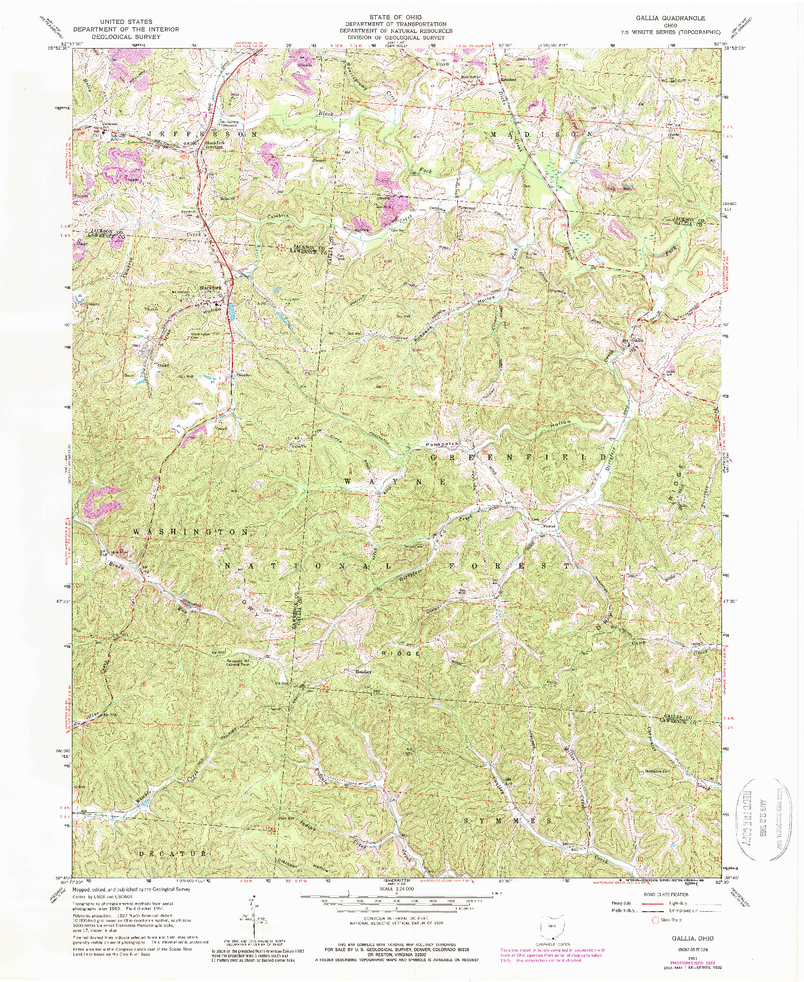 USGS 1:24000-SCALE QUADRANGLE FOR GALLIA, OH 1961