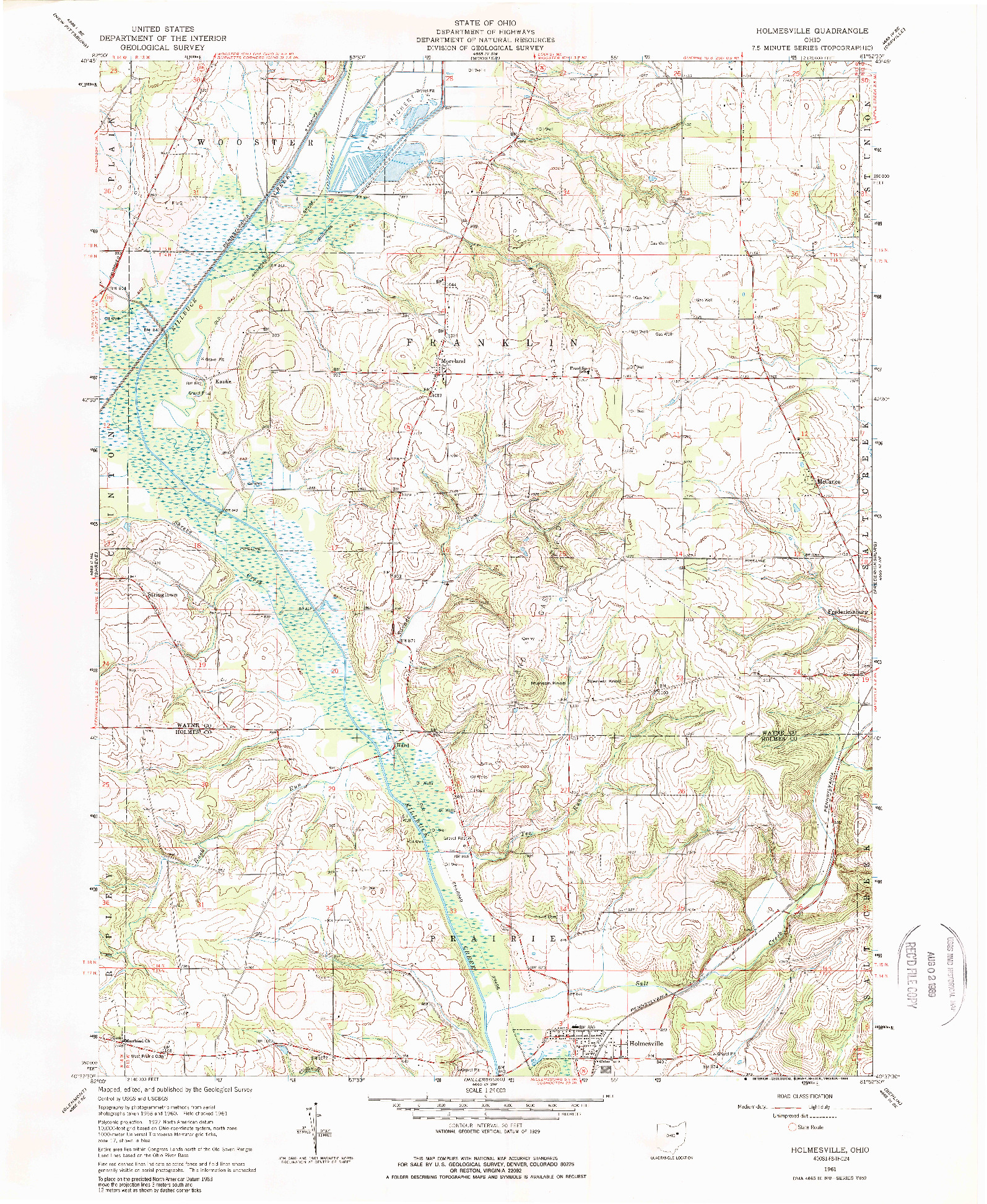 USGS 1:24000-SCALE QUADRANGLE FOR HOLMESVILLE, OH 1961