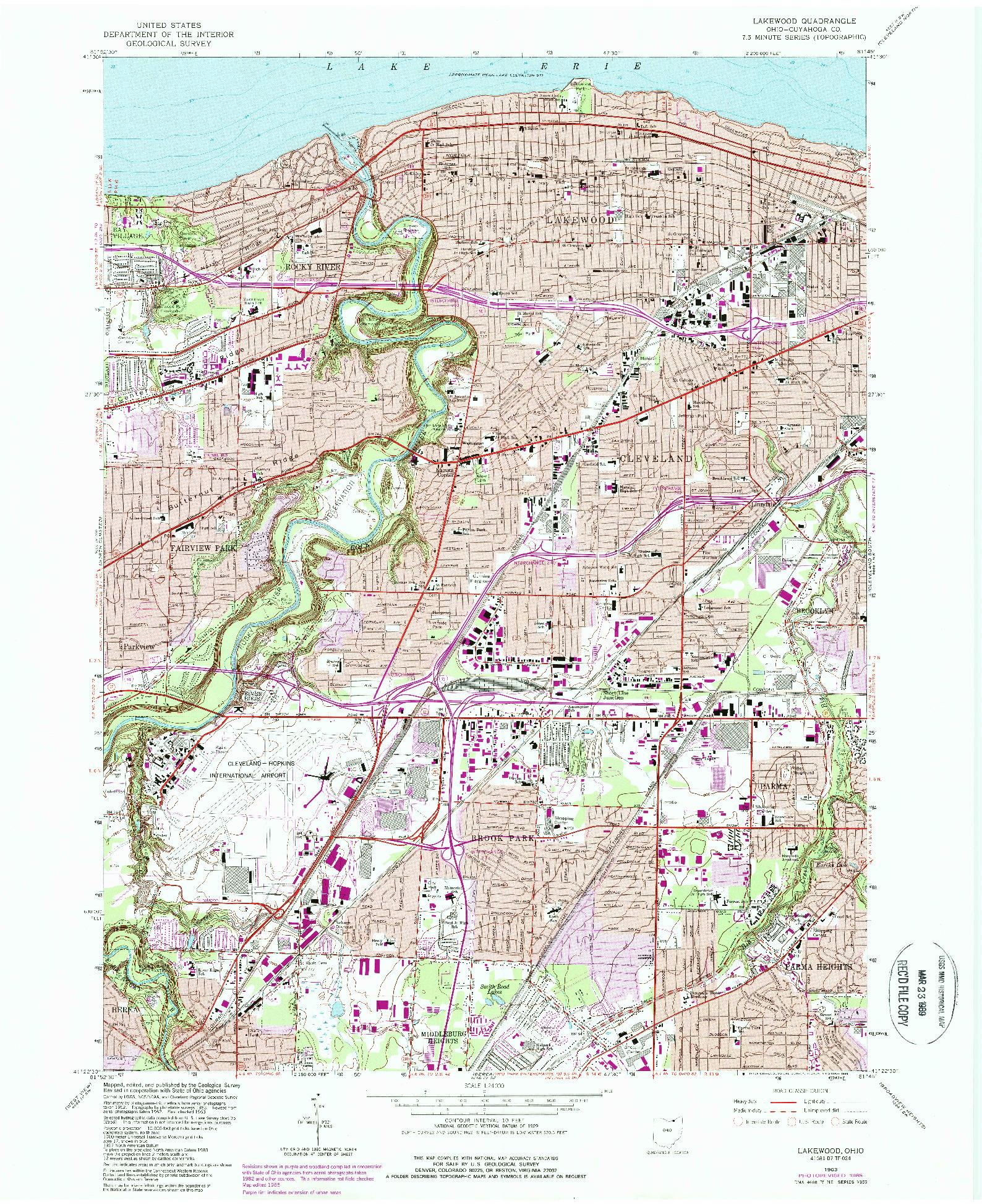 USGS 1:24000-SCALE QUADRANGLE FOR LAKEWOOD, OH 1963