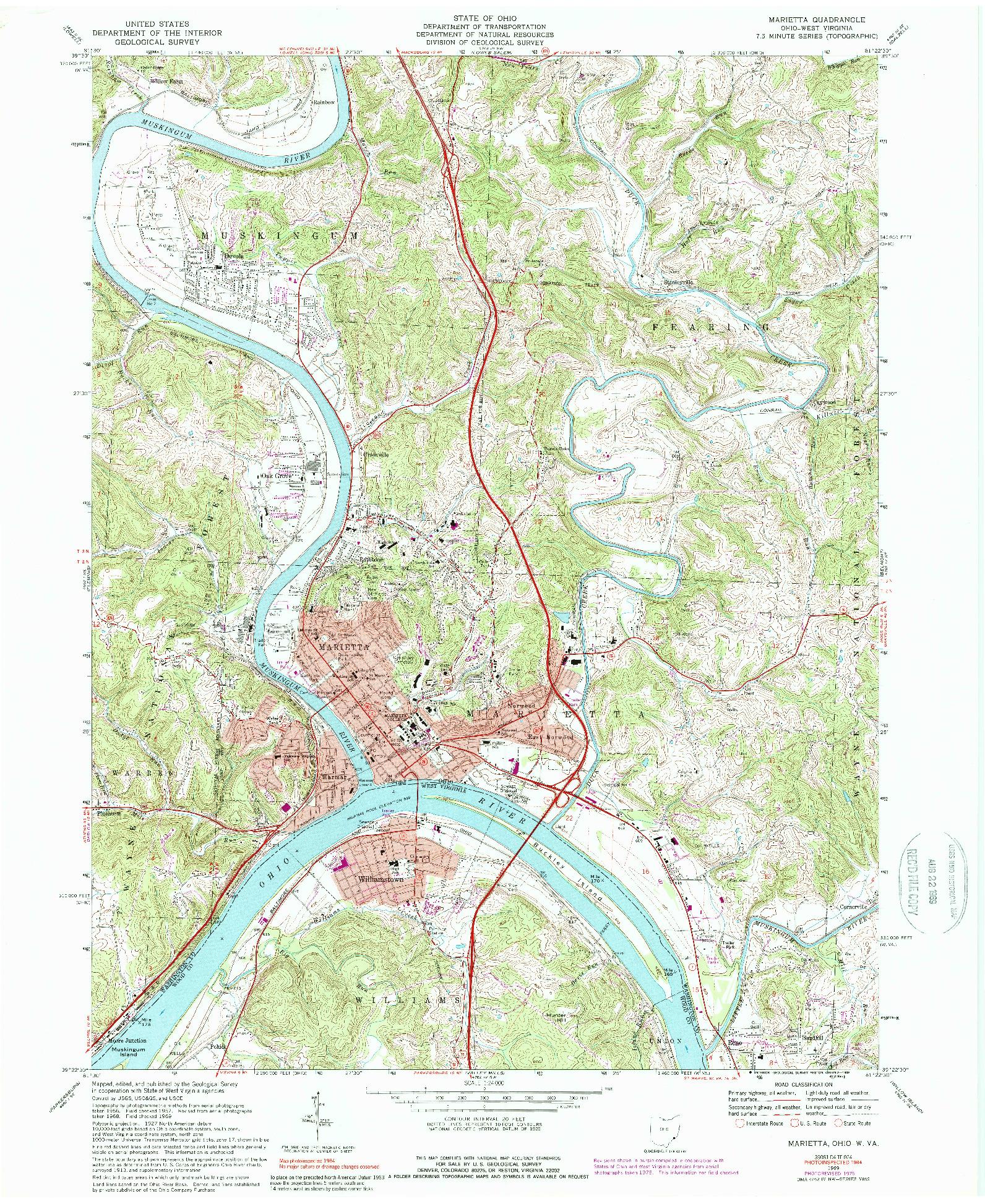 USGS 1:24000-SCALE QUADRANGLE FOR MARIETTA, OH 1969