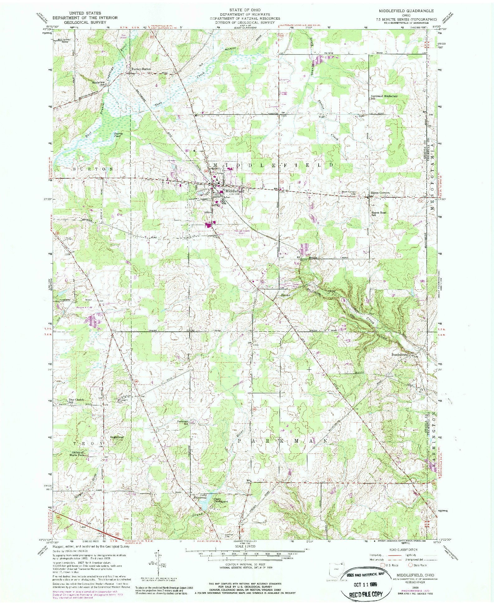 USGS 1:24000-SCALE QUADRANGLE FOR MIDDLEFIELD, OH 1959